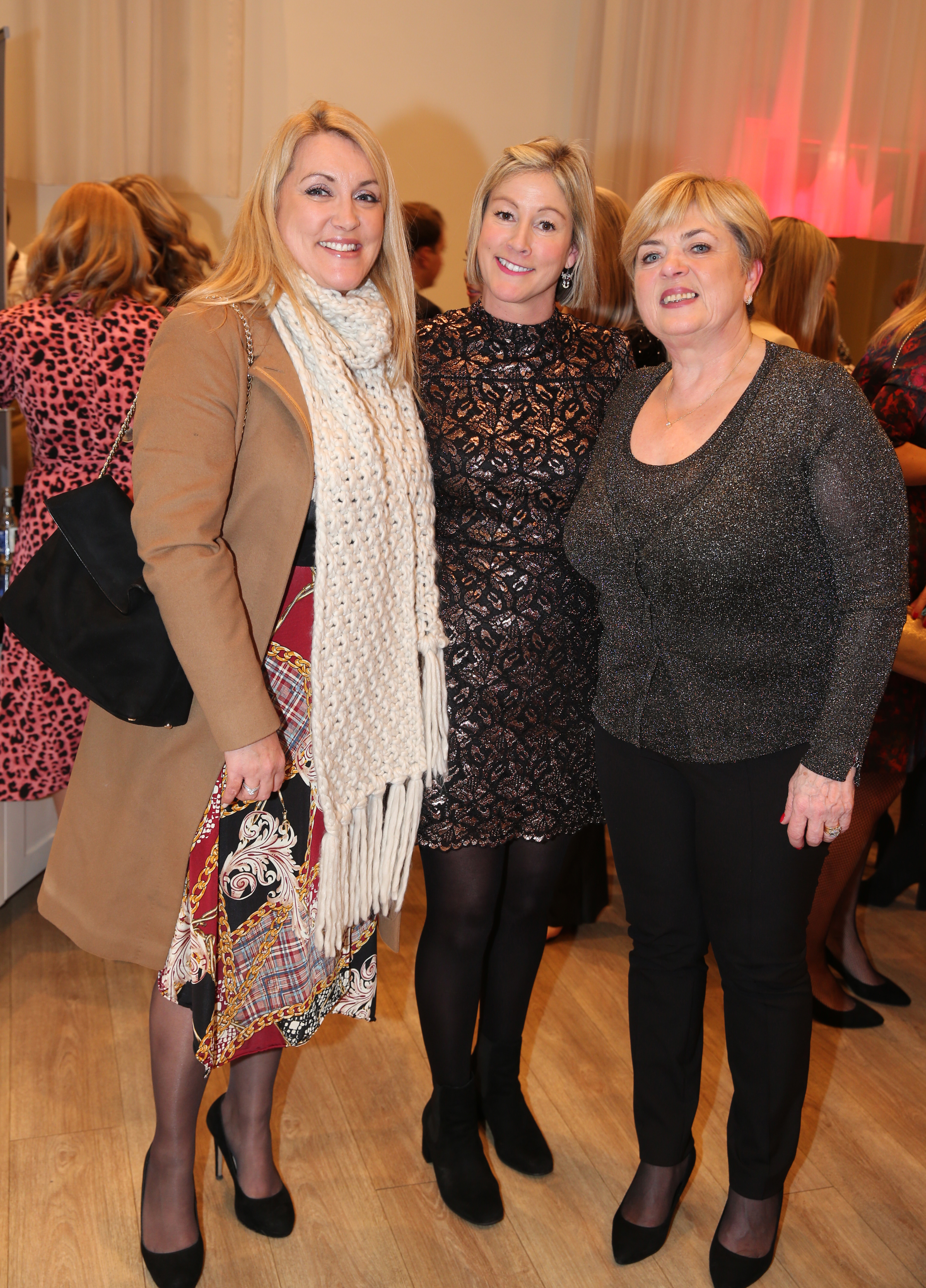 Pictured at the fun filled Christmas afternoon tea at The Morrison Hotel were Caoimhe Lynch, Esther Clifford and Emma Scannell. Photograph: Leon Farrell / Photocall Ireland
