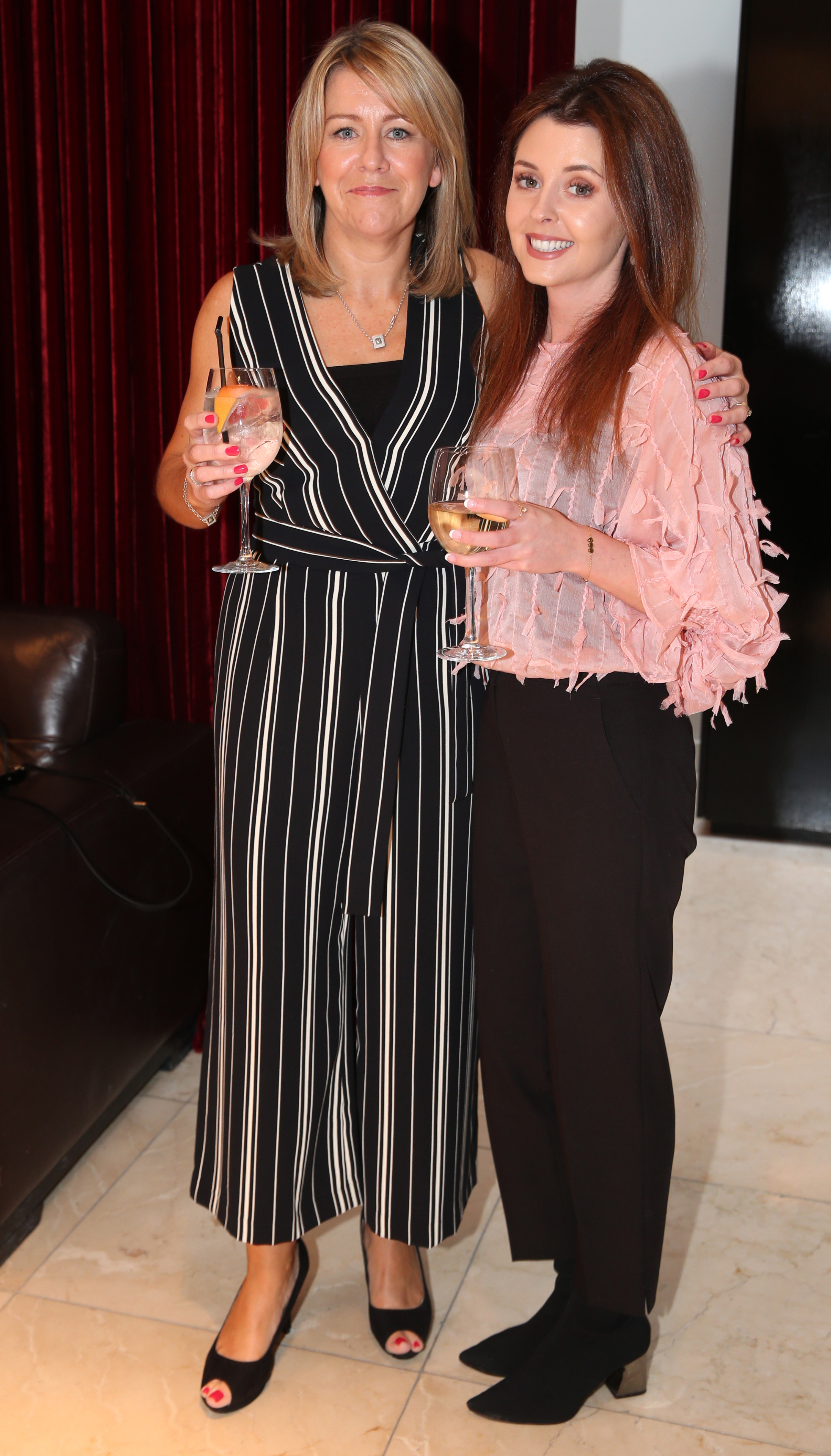 Pictured at the fun filled Christmas afternoon tea at The Morrison Hotel were Lucy Curley and Adrienne O'Dowd. Photograph: Leon Farrell / Photocall Ireland