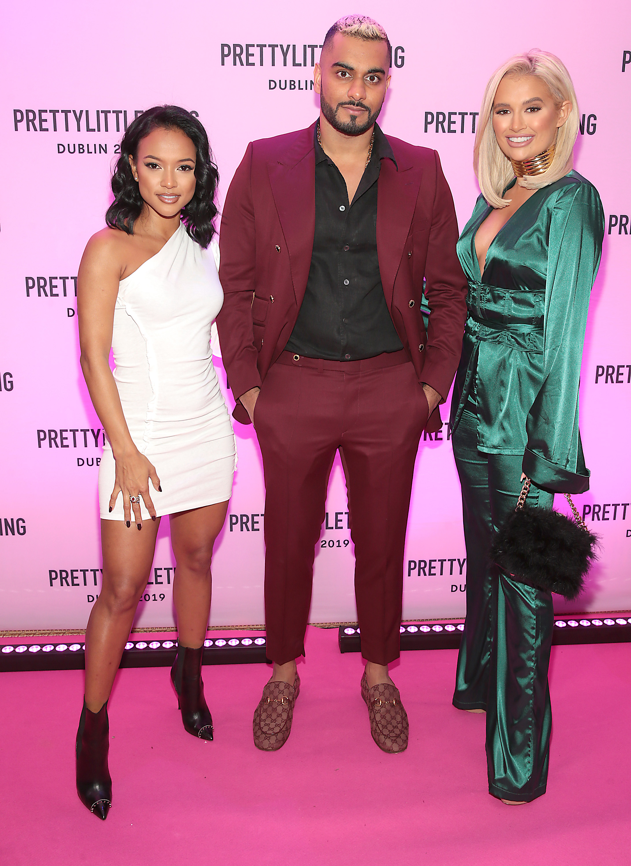 Umar Kamani with Karrueche Tran and Molly Mae Hague in Dublin for the PrettyLittleThing launch party for Molly Mae Hague's new partywear Christmas Edit. Picture: Brian McEvoy