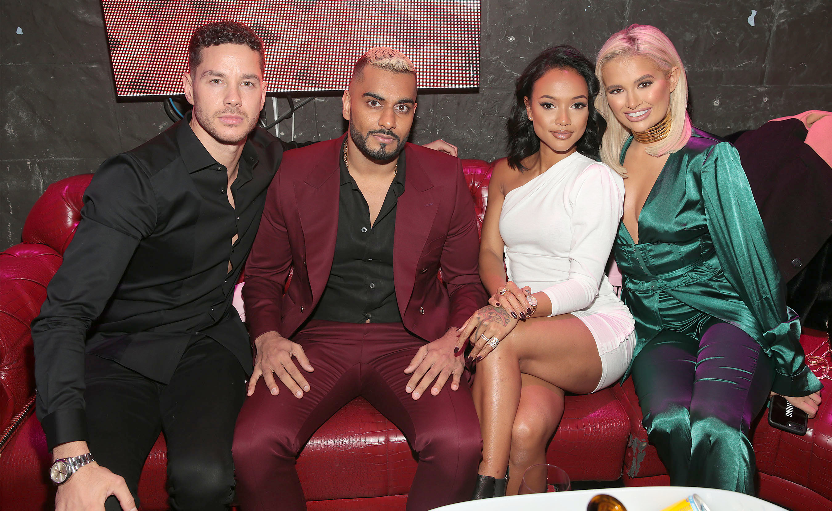 Scott Thomas, Umar Kamani, Karrueche Tran and Molly Mae Hague in Dublin for the PrettyLittleThing launch party for Molly Mae Hague's new partywear Christmas Edit.   Picture: Brian McEvoy