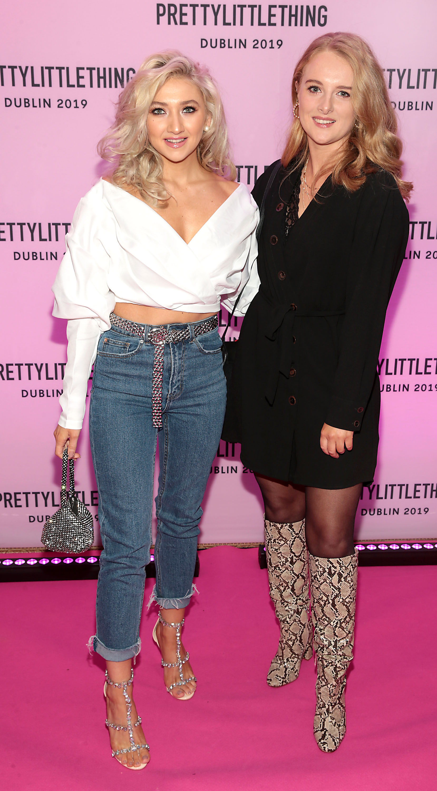 Amy Marie Dunne and Danielle Beggs at the PrettyLittleThing launch party for Molly Mae Hague's new Christmas Edit in Twenty Two, Dublin.  Picture: Brian McEvoy