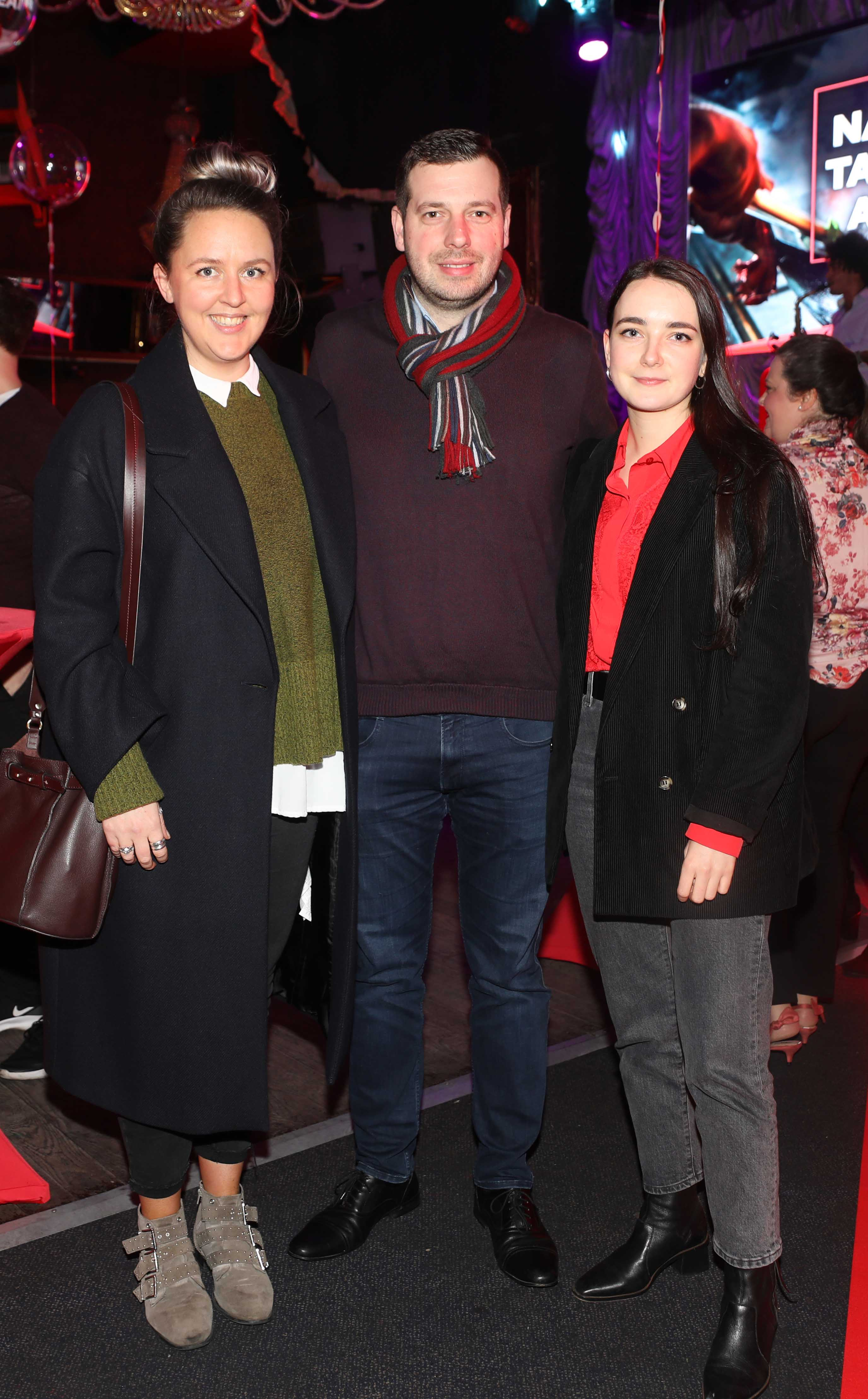 Pictured last night were Chelsey Killen, Gildas Burnel and Niamh Dolphin at the sixth annual Just Eat National Takeaway Awards in Dublin's Twenty Two. Photograph: Leon Farrell / Photocall Ireland