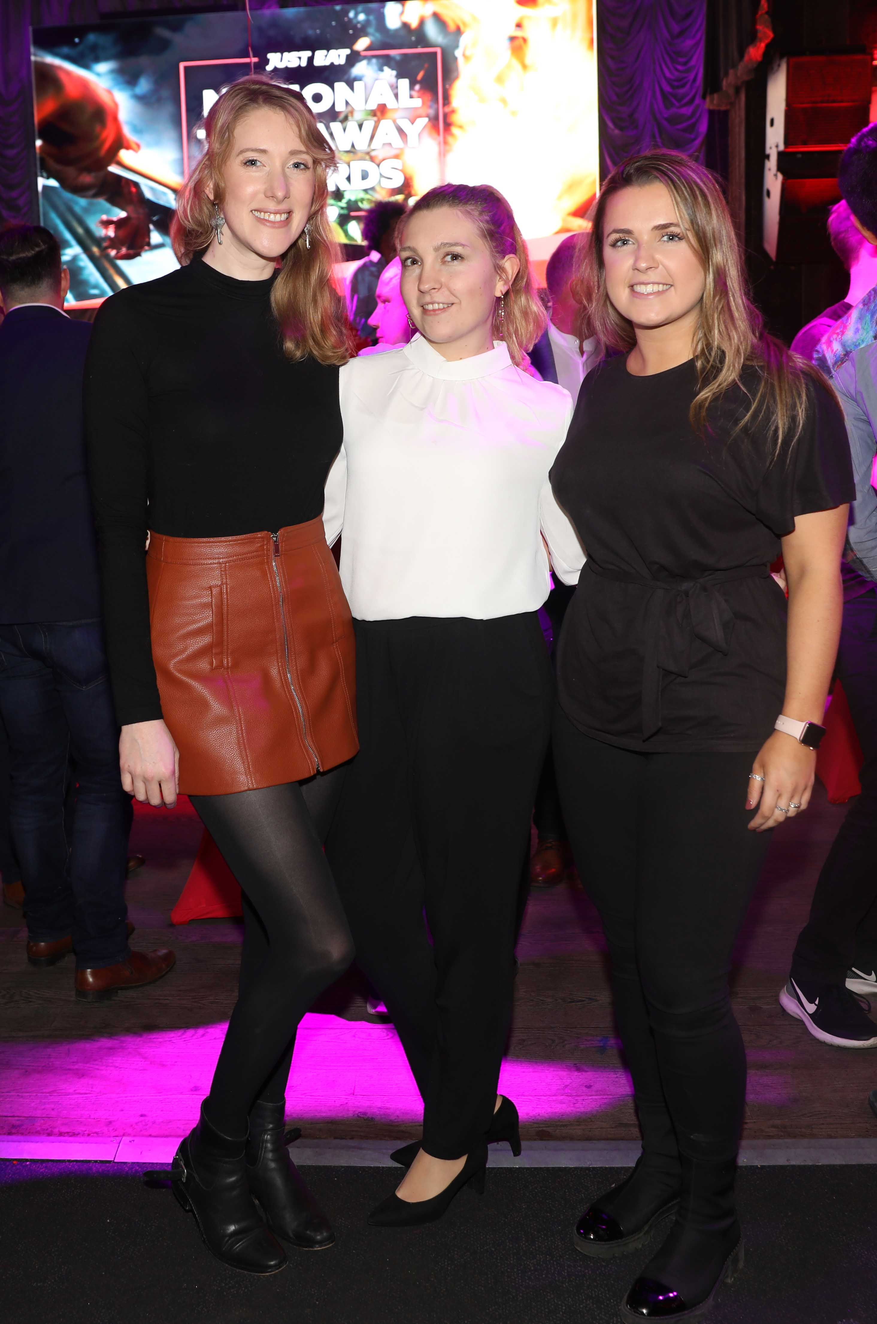 Pictured last night were Audrey Brewer, Autumn Guillott and Katie Gribeen at the sixth annual Just Eat National Takeaway Awards in Dublin's Twenty Two. Photograph: Leon Farrell / Photocall Ireland