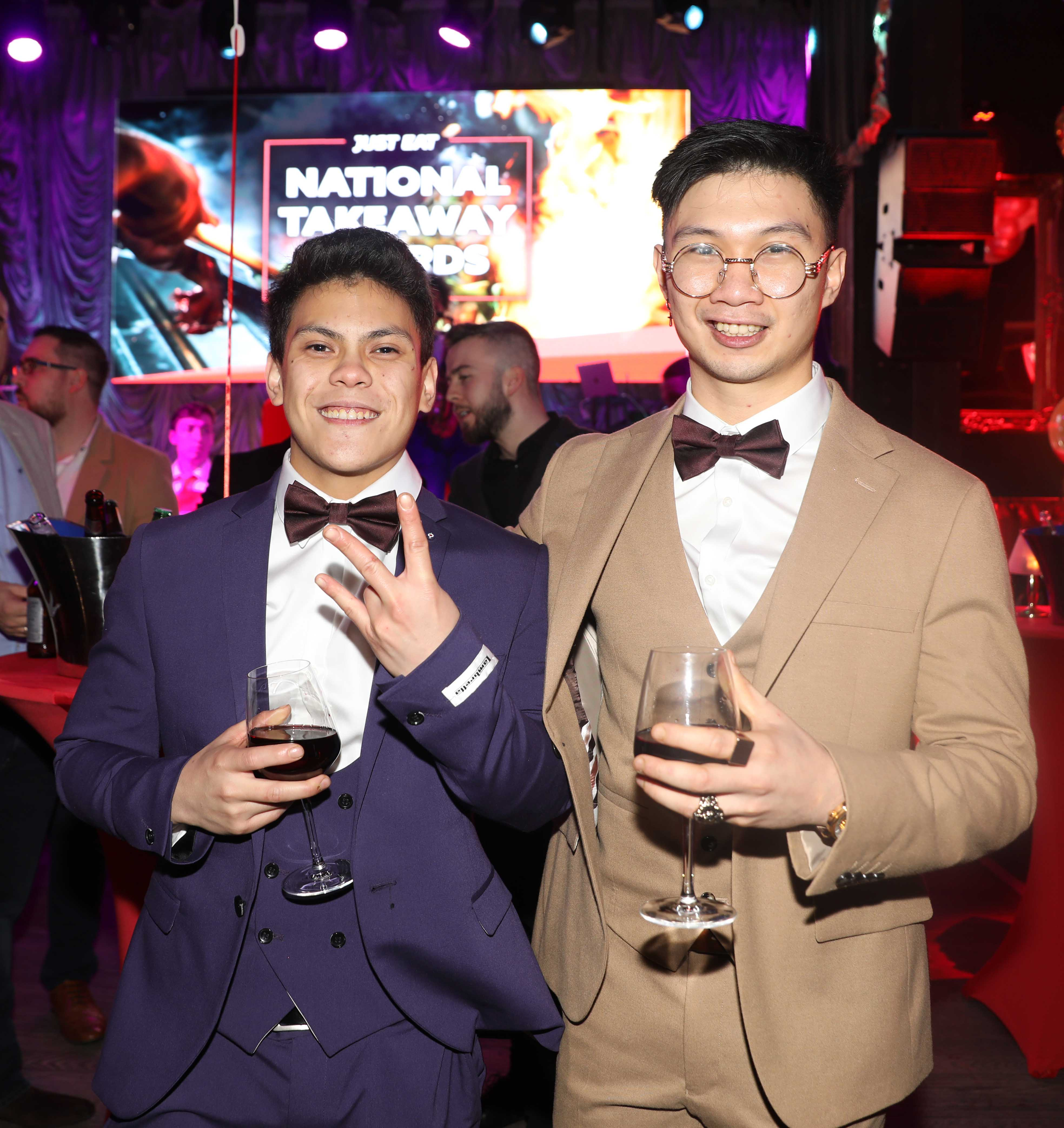 Pictured last night were Christian Freire and Renzo Pinulan at the sixth annual Just Eat National Takeaway Awards in Dublin's Twenty Two. Photograph: Leon Farrell / Photocall Ireland