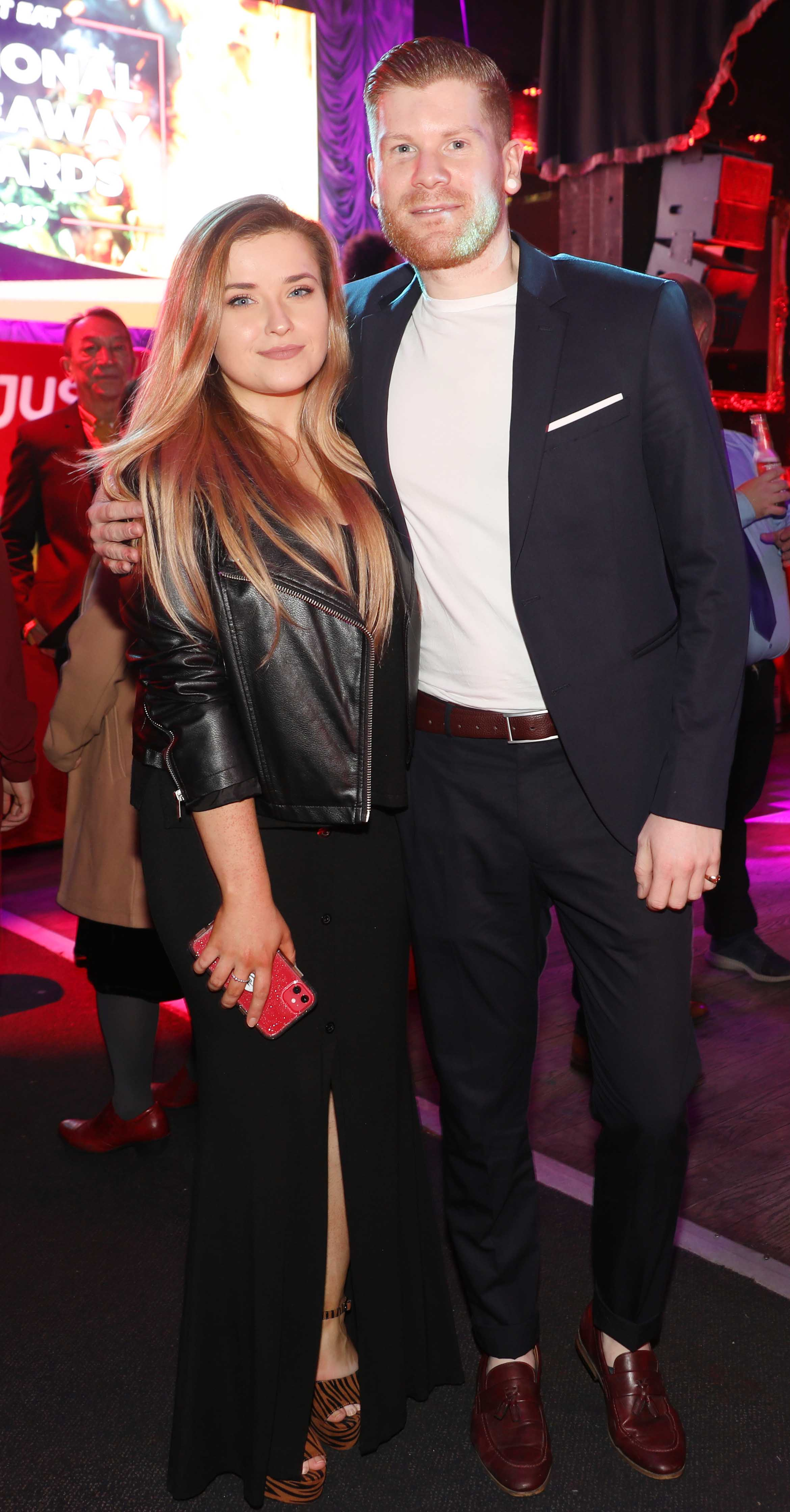 Pictured last night were Emma Costello and Pete Ungless at the sixth annual Just Eat National Takeaway Awards in Dublin's Twenty Two. Photograph: Leon Farrell / Photocall Ireland