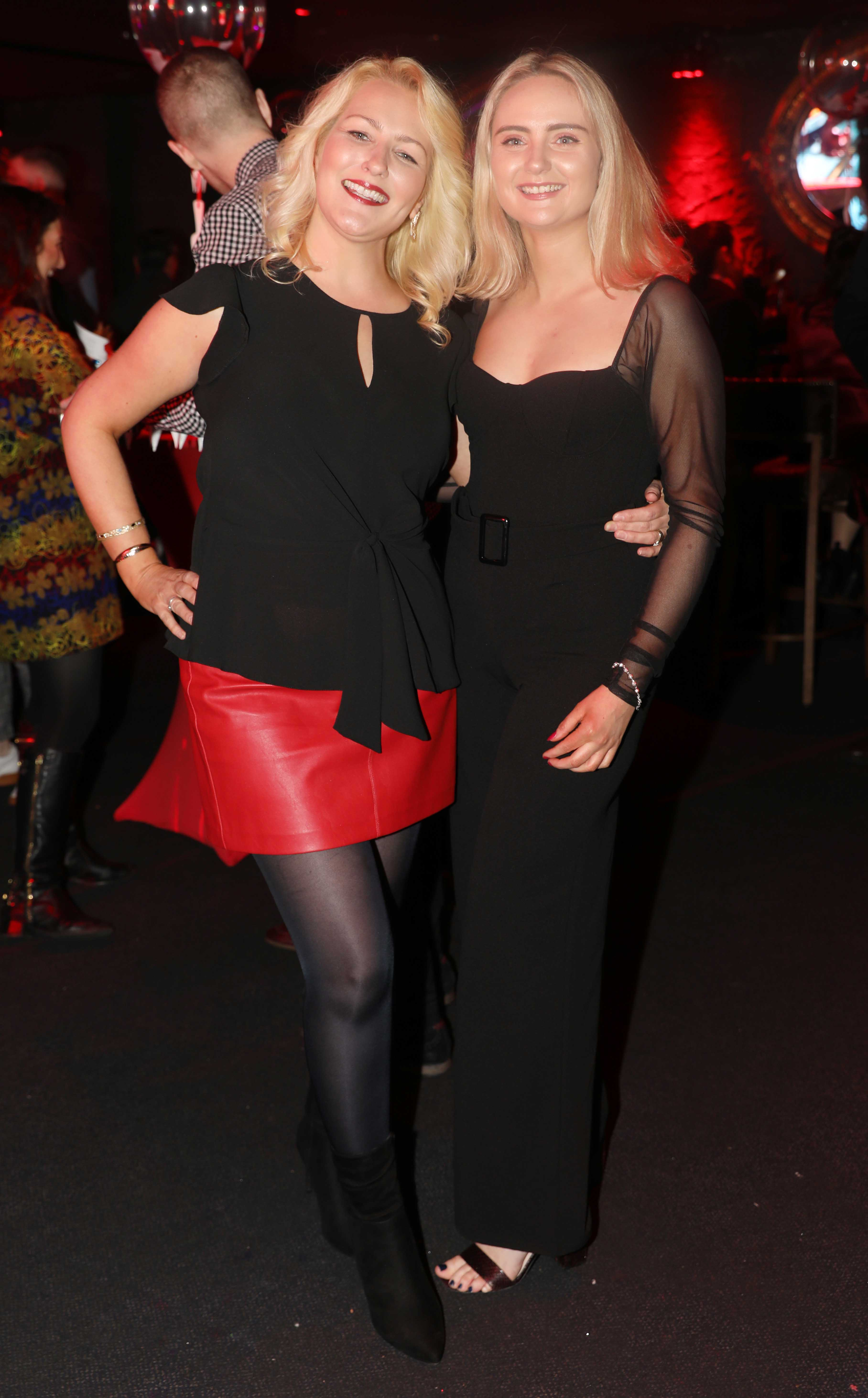 Pictured last night were Leah O'Brien and Claire McDwyer at the sixth annual Just Eat National Takeaway Awards in Dublin's Twenty Two.  Photograph: Leon Farrell / Photocall Ireland