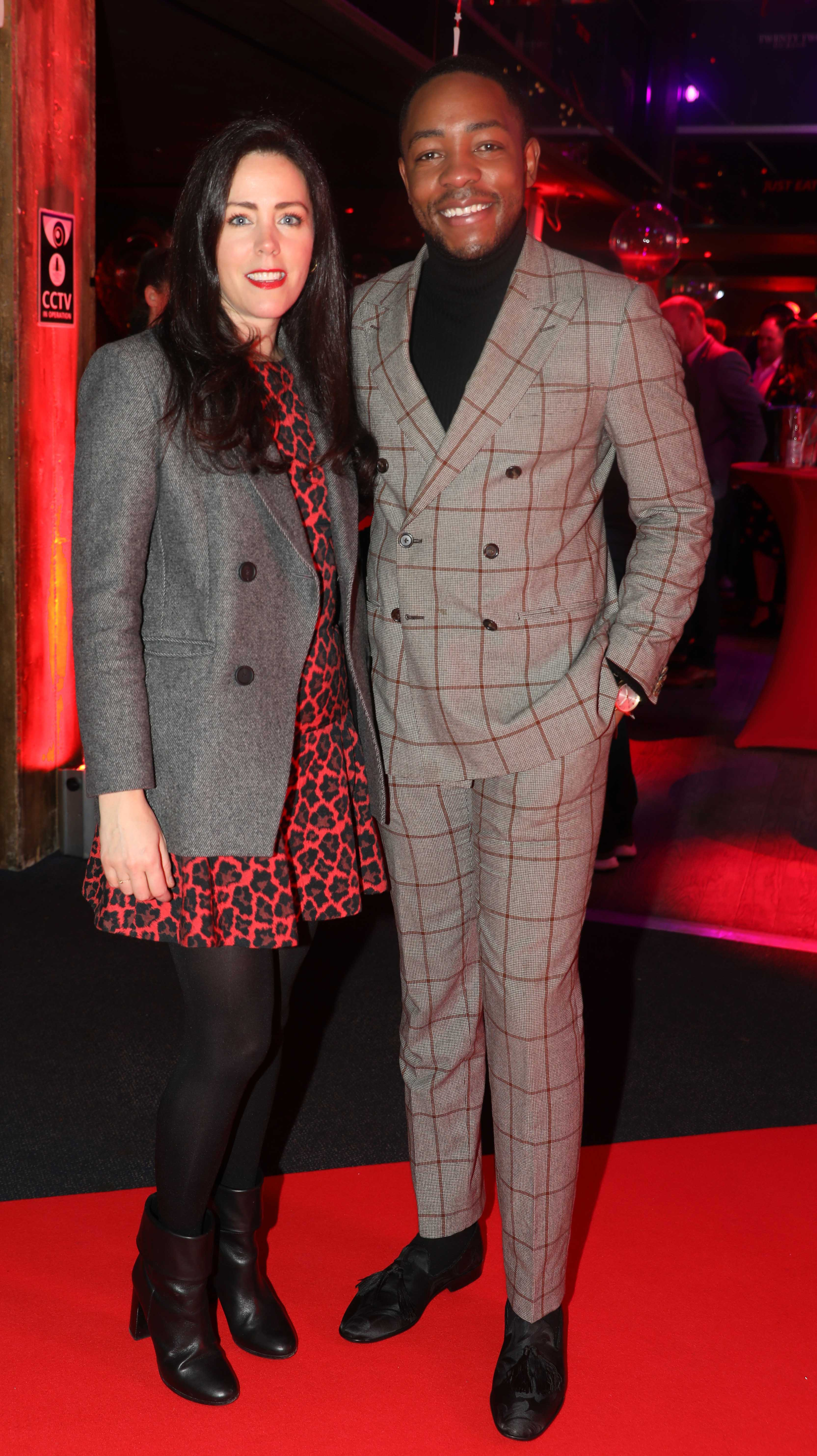 Pictured last night were Annelie McCaffrey and Lawson Mpame at the sixth annual Just Eat National Takeaway Awards in Dublin's Twenty Two. Photograph: Leon Farrell / Photocall Ireland