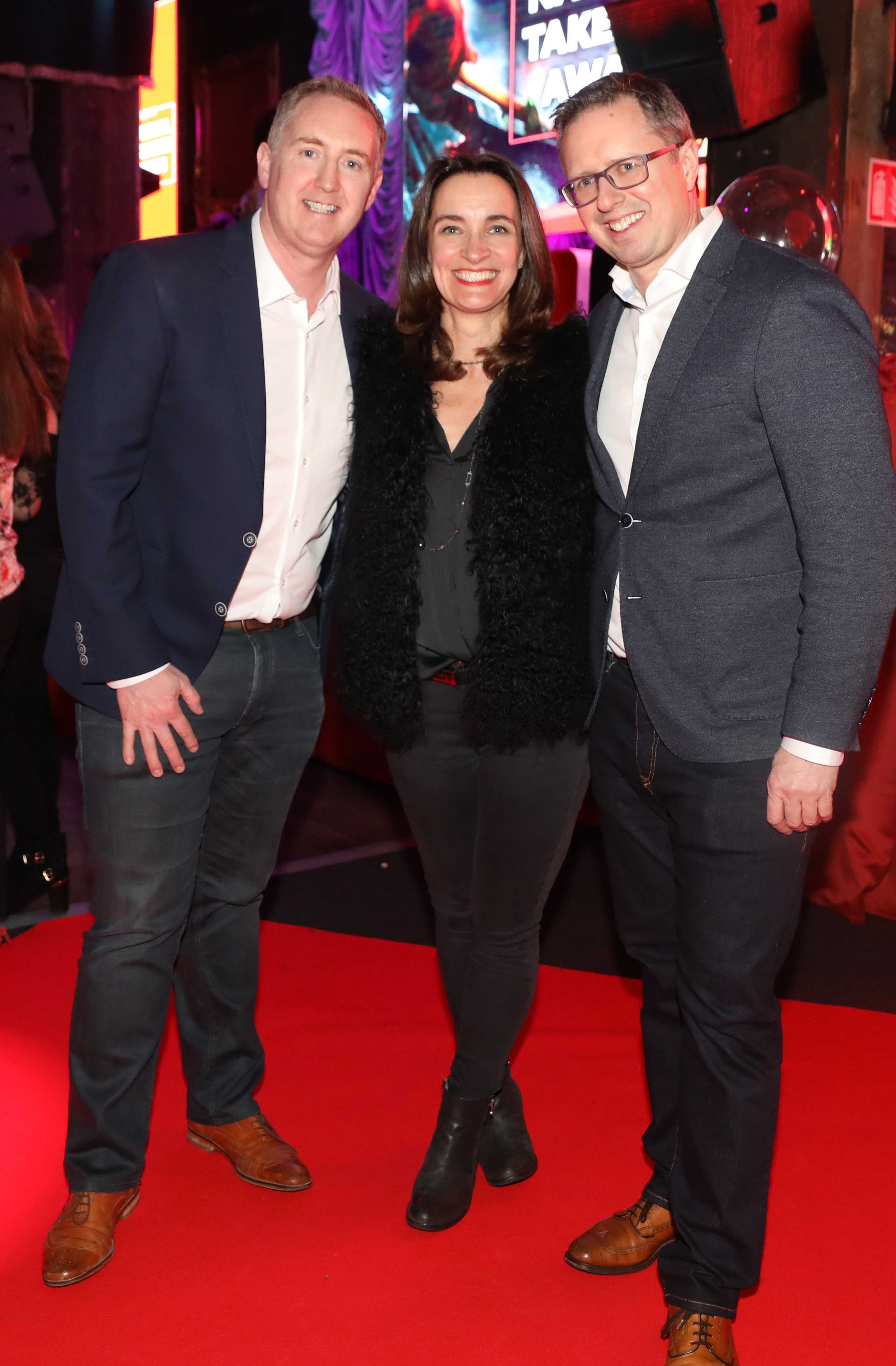 Pictured last night were Alan Cadden, Edel Kinane, Commercial Director, Just Eat Ireland and Paul Cadden at the sixth annual Just Eat National Takeaway Awards in Dublin's Twenty Two. Photograph: Leon Farrell / Photocall Ireland