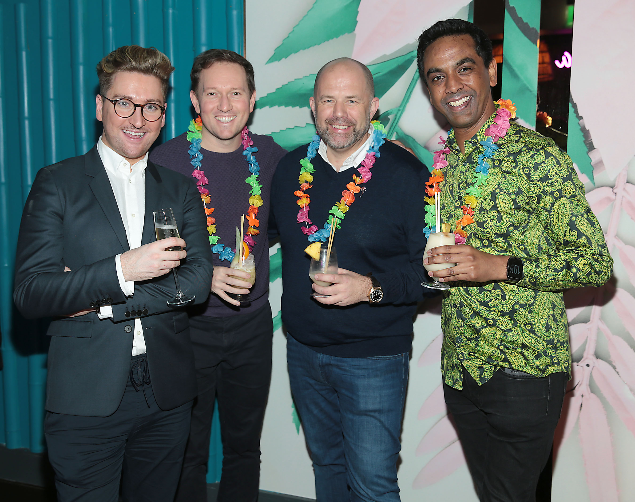 Rob Kenny, David Mitchell, Ian Redmond and Clint Drieberg pictured at the opening of Ohana in Harcourt Street, Dublin. Pic: Brian McEvoy