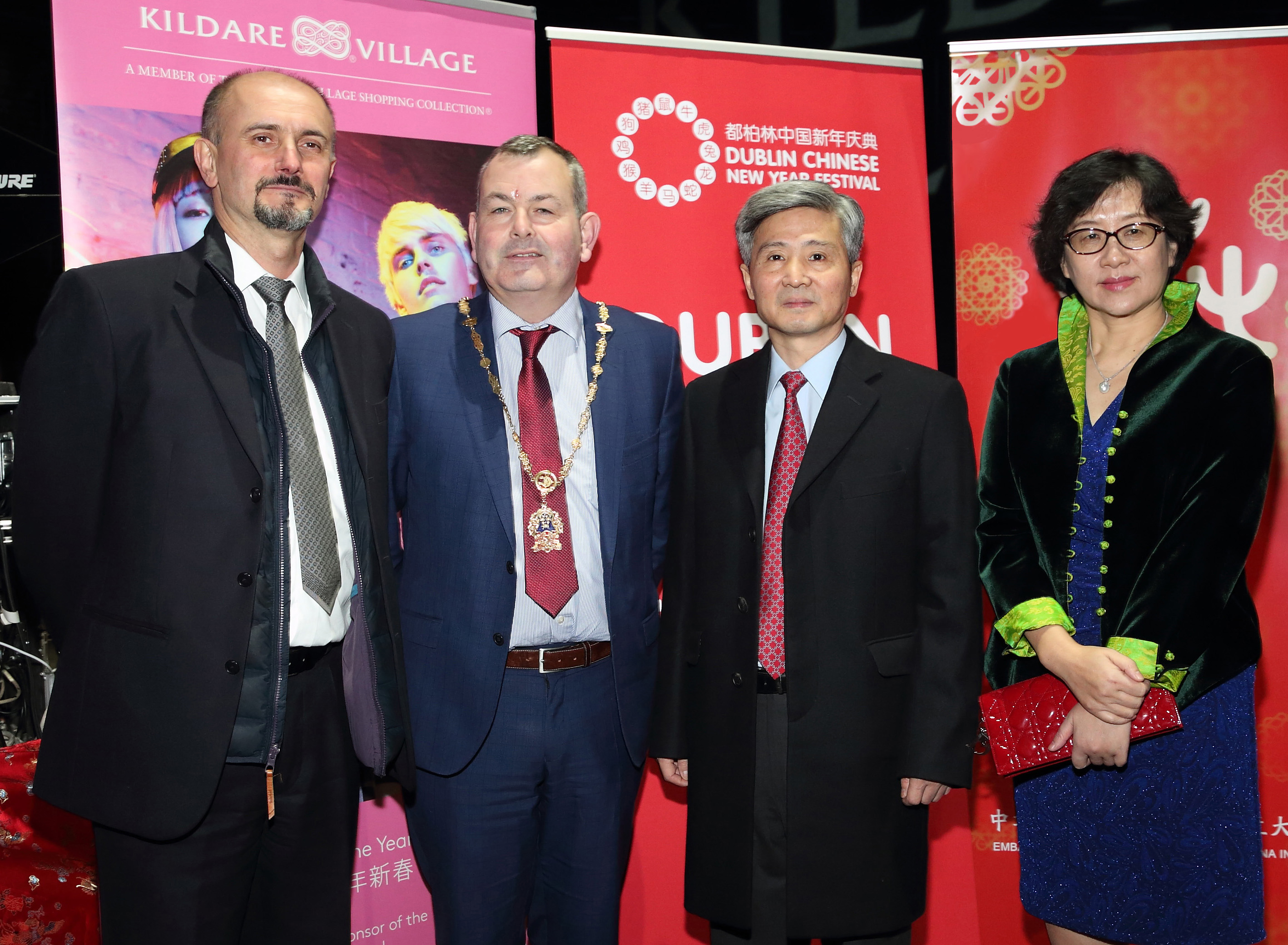 Business Director for Kildare Village Rene Frion, Deputy Lord Mayor of Dublin Tom Brabazon, the Ambassador of the People's Republic of China in Ireland He Xiangdong and his wife Xia Lining  at the opening ceremony of Dublin Chinese New Year Festival 2020 which runs from 24th January - 10th February and celebrates the Year of the Rat.  Pic: Brian McEvoy Photography