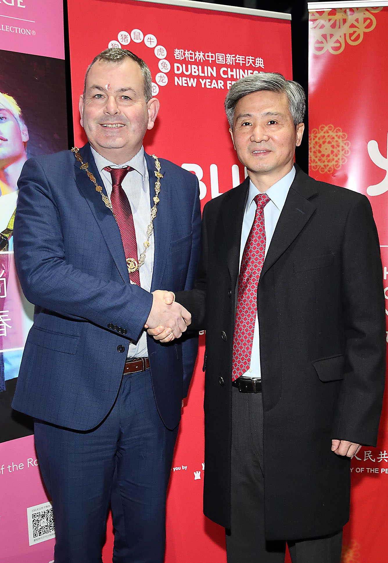 Deputy Lord Mayor of Dublin Tom Brabazon and the Ambassador of the People's Republic of China in Ireland He Xiangdong  at the opening ceremony of Dublin Chinese New Year Festival 2020 which runs until 10th Feb and celebrates the Year of the Rat.  Pic: Brian McEvoy Photography