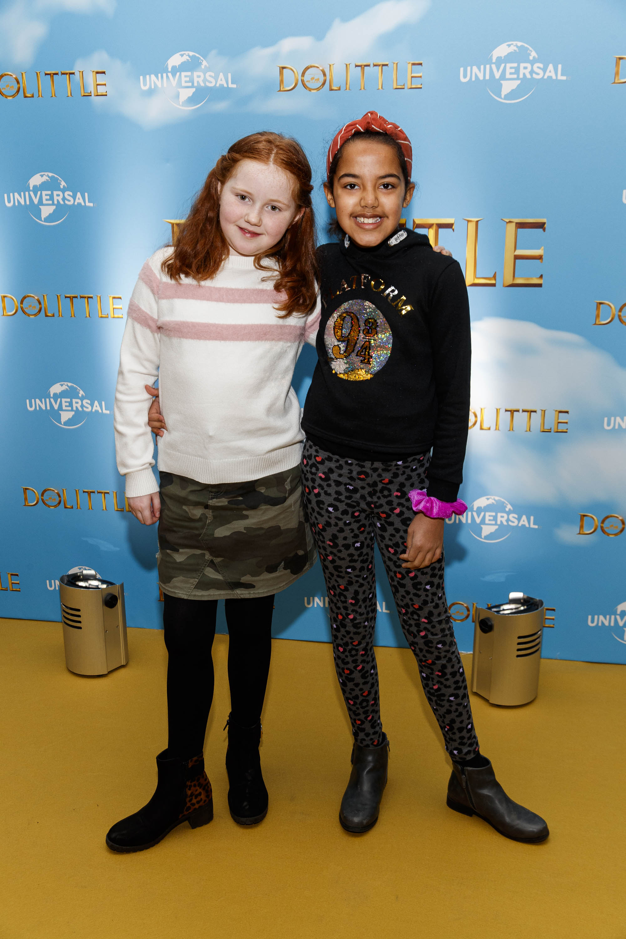 Olivia Allen (10) and Ciara Smith (9) pictured at the Universal Pictures special preview screening of Dolittle at Odeon Point Square, Dublin.