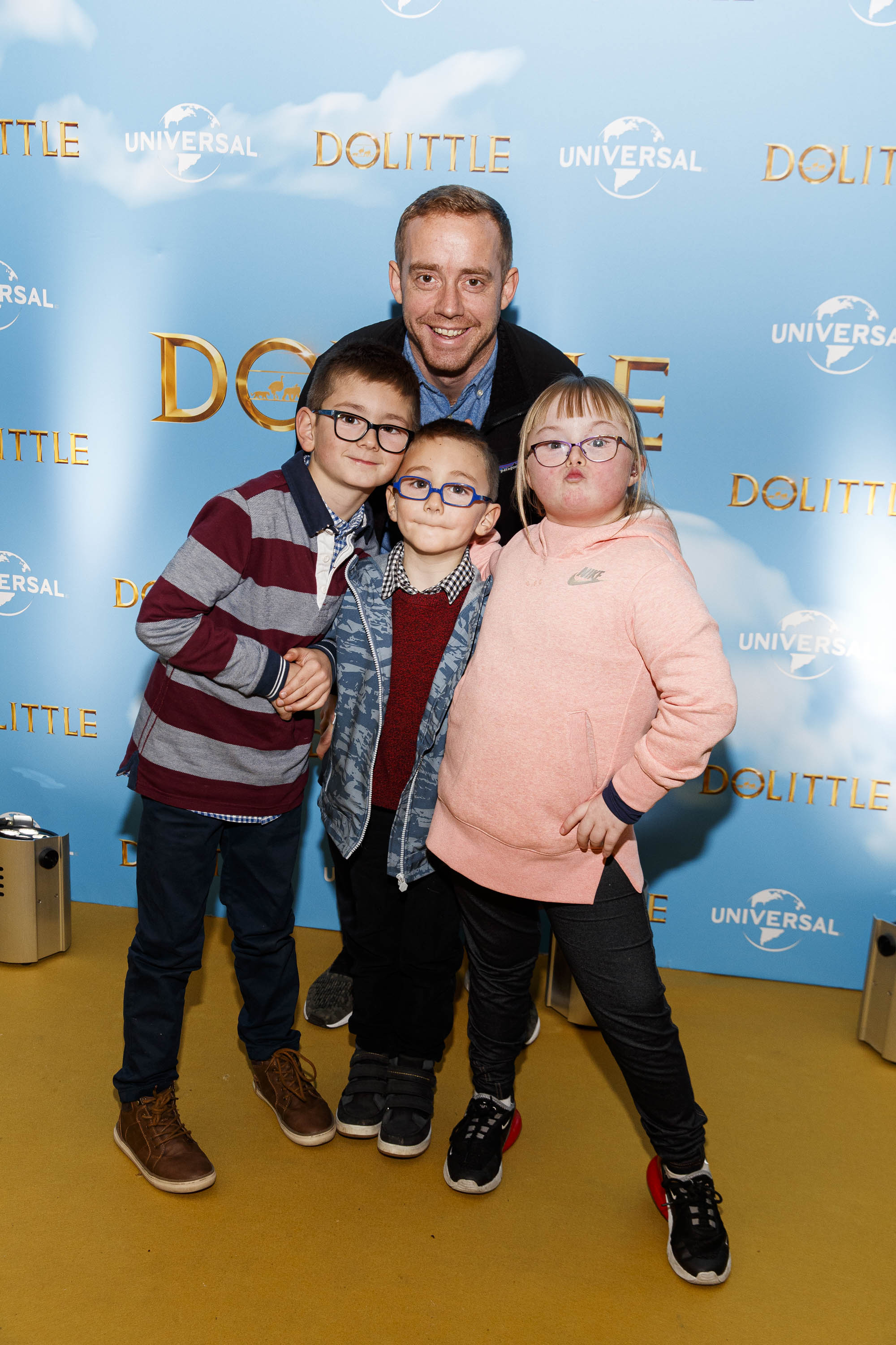Dave McAsey with Anthony (7), Cillian (6) and Saoirse (12) pictured at the Universal Pictures special preview screening of Dolittle at Odeon Point Square, Dublin.