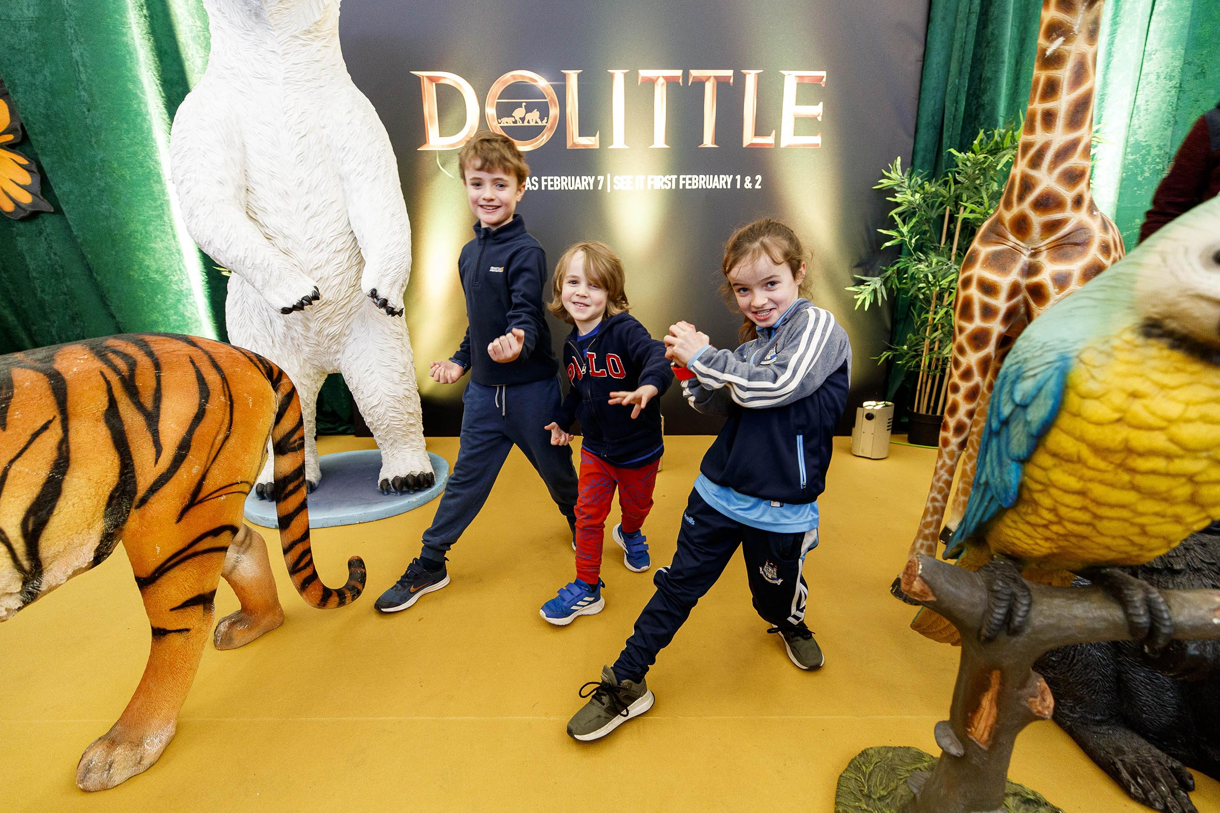 Emily (8), Ben (5) and James Baaij (8) pictured at the Universal Pictures special preview screening of Dolittle at Odeon Point Square, Dublin.