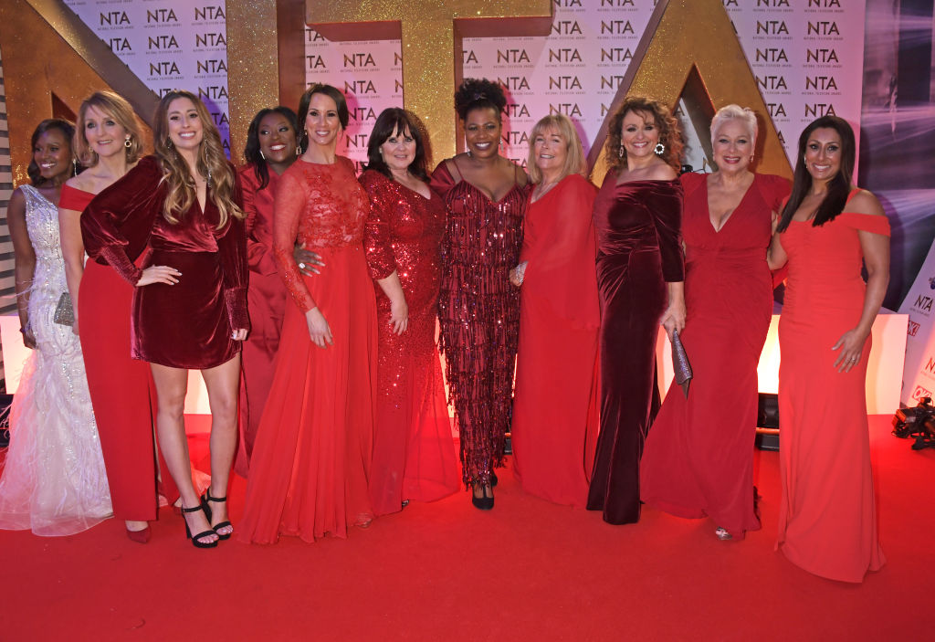 (L to R) Kelle Bryan, Kaye Adams, Stacey Solomon, Judi Love, Andrea McLean, Coleen Nolan, Brenda Edwards, Linda Robson, Nadia Sawalha, Denise Welch and Saira Khan of Loose Women attend the National Television Awards 2020 at The O2 Arena on January 28, 2020 in London, England. (Photo by David M. Benett/Dave Benett/Getty Images)