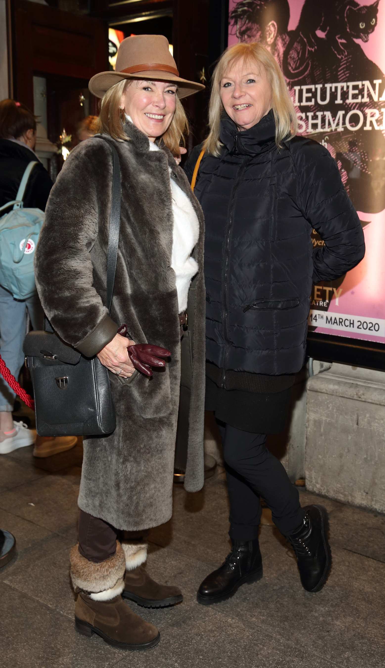 Rhona Teehan and Carol Dixon pictured at the opening of the Gaiety Theatre's major new production of Martin McDonagh's 'The Lieutenant of Inishmore', which will run at the Gaiety Theatre until 14th March.