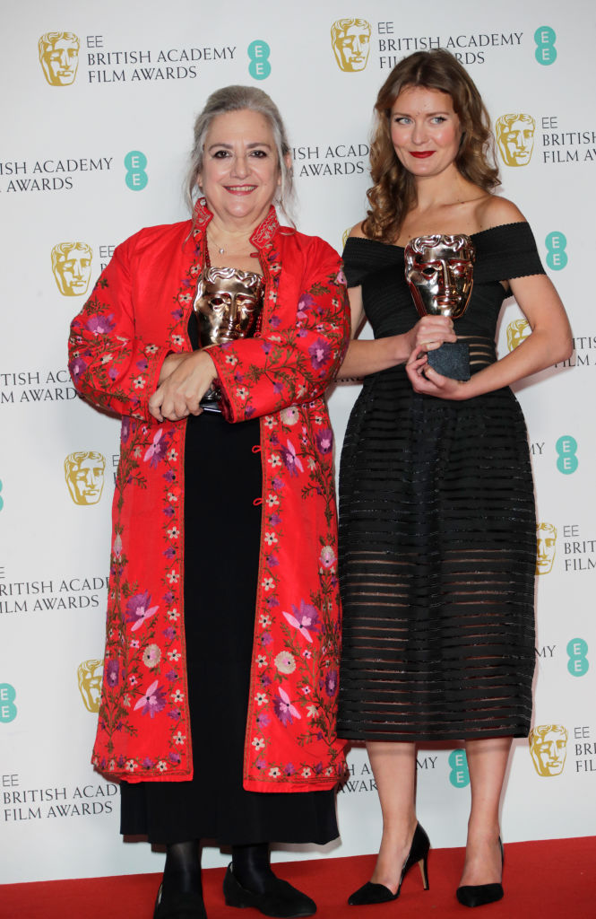 "Carol Dysinger and Elena Andreicheva, winners of the Best British Short Film award for ""Learning to Skateboard in a Warzone (If You're a Girl)"", pose in the Winners Room at the EE British Academy Film Awards 2020 at Royal Albert Hall on February 2, 2020 in London, England. (Photo by David M. Benett/Dave Benett/Getty Images)"
