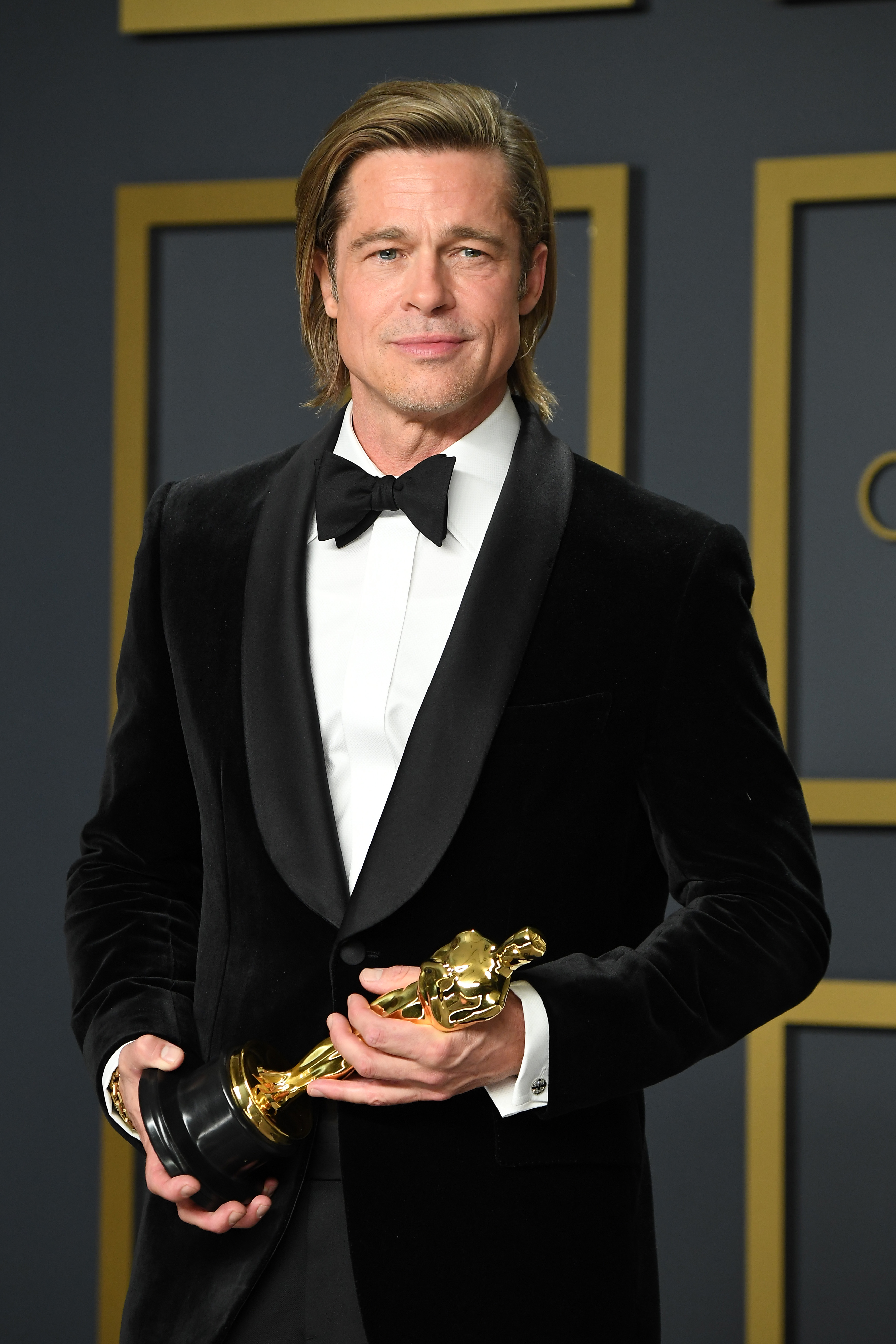 """Brad Pitt winner of Actor in a Supporting Role award for """"Once upon a Time in Hollywood,"""" poses in the press room during the 92nd Annual Academy Awards at Hollywood and Highland on February 09, 2020 in Hollywood, California. (Photo by Steve Granitz/WireImage )"""