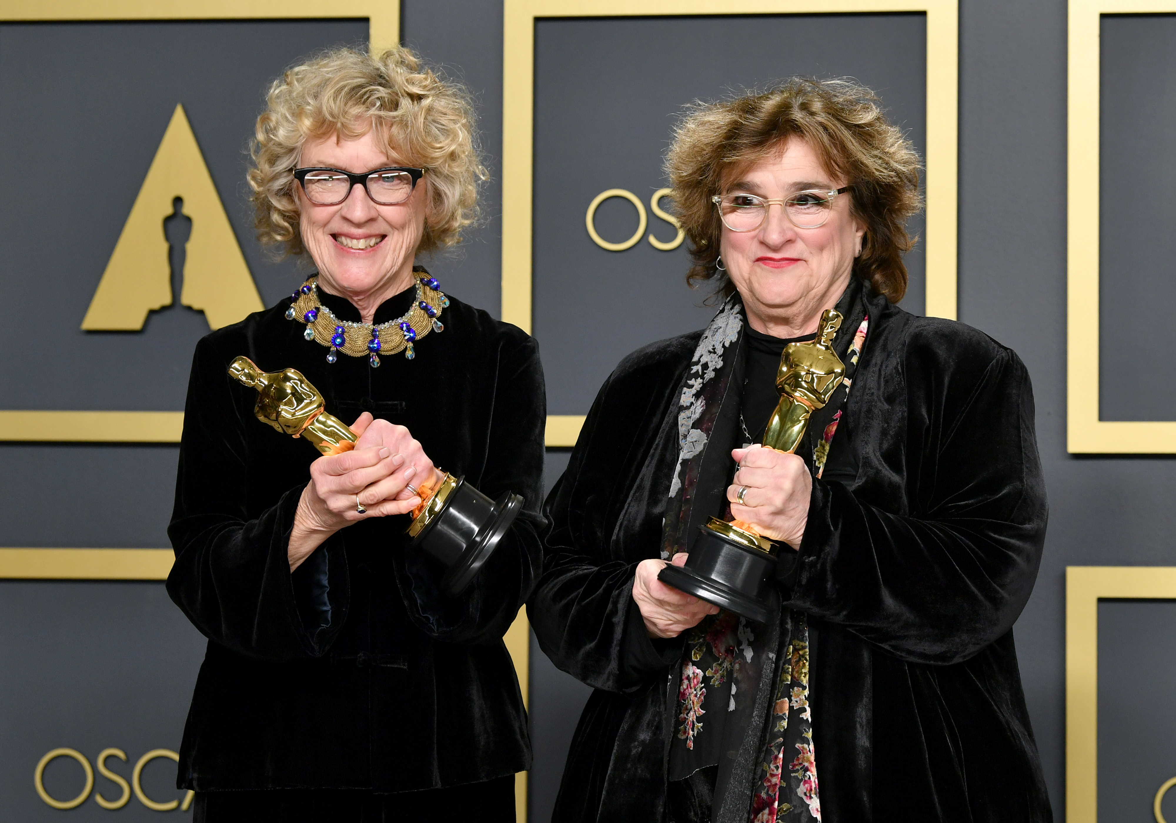 """Set decorator Nancy Haigh and production designer Barbara Ling, winners of the Production Design award for """"Once Upon a Time in Hollywood,""""  pose in the press room during the 92nd Annual Academy Awards at Hollywood and Highland on February 09, 2020 in Hollywood, California. (Photo by Amy Sussman/Getty Images)"""