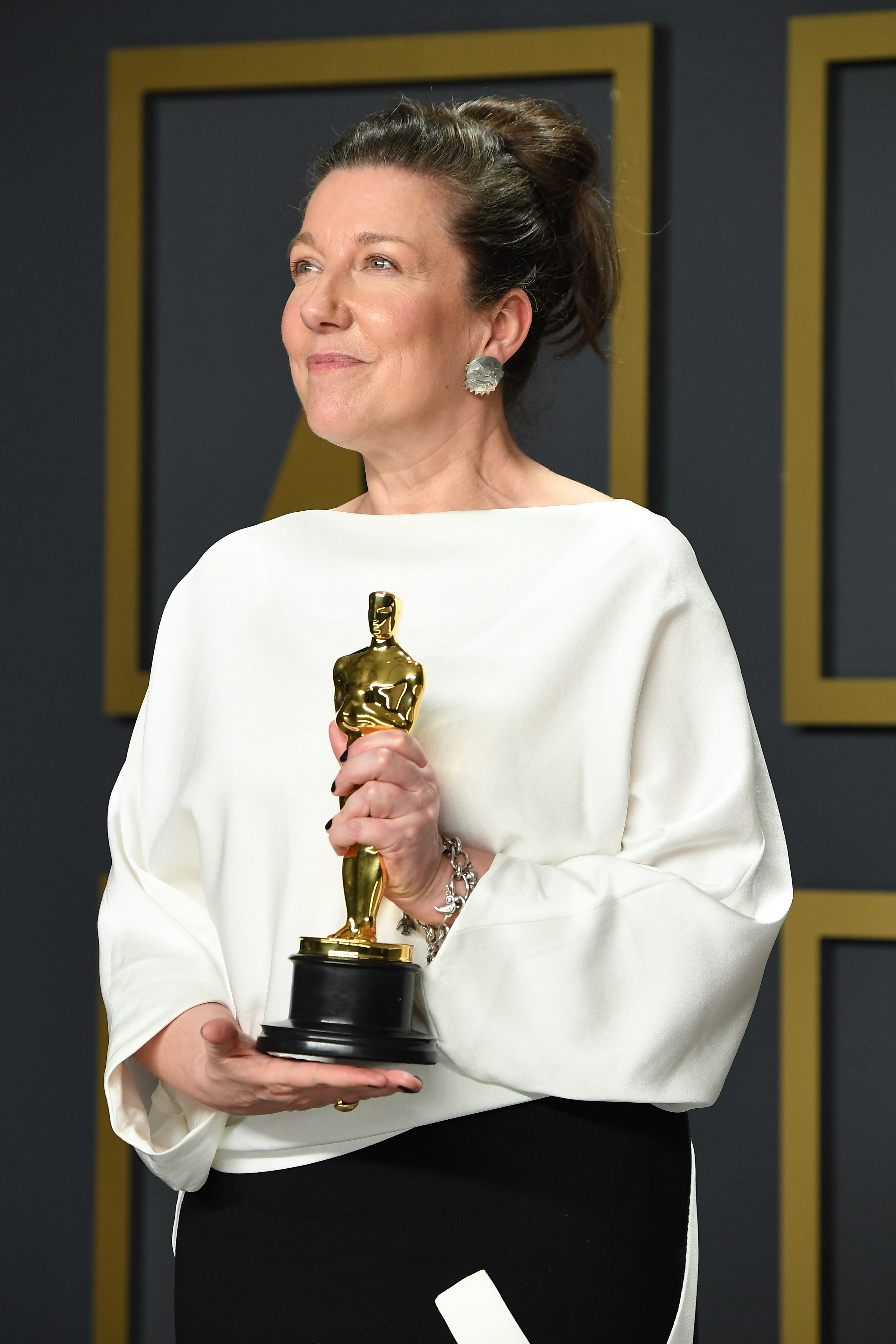 """Jacqueline Durran, winner of the Costume Design award for """"Little Women ,"""" poses in the press room during the 92nd Annual Academy Awards at Hollywood and Highland on February 09, 2020 in Hollywood, California. (Photo by Steve Granitz/WireImage )"""