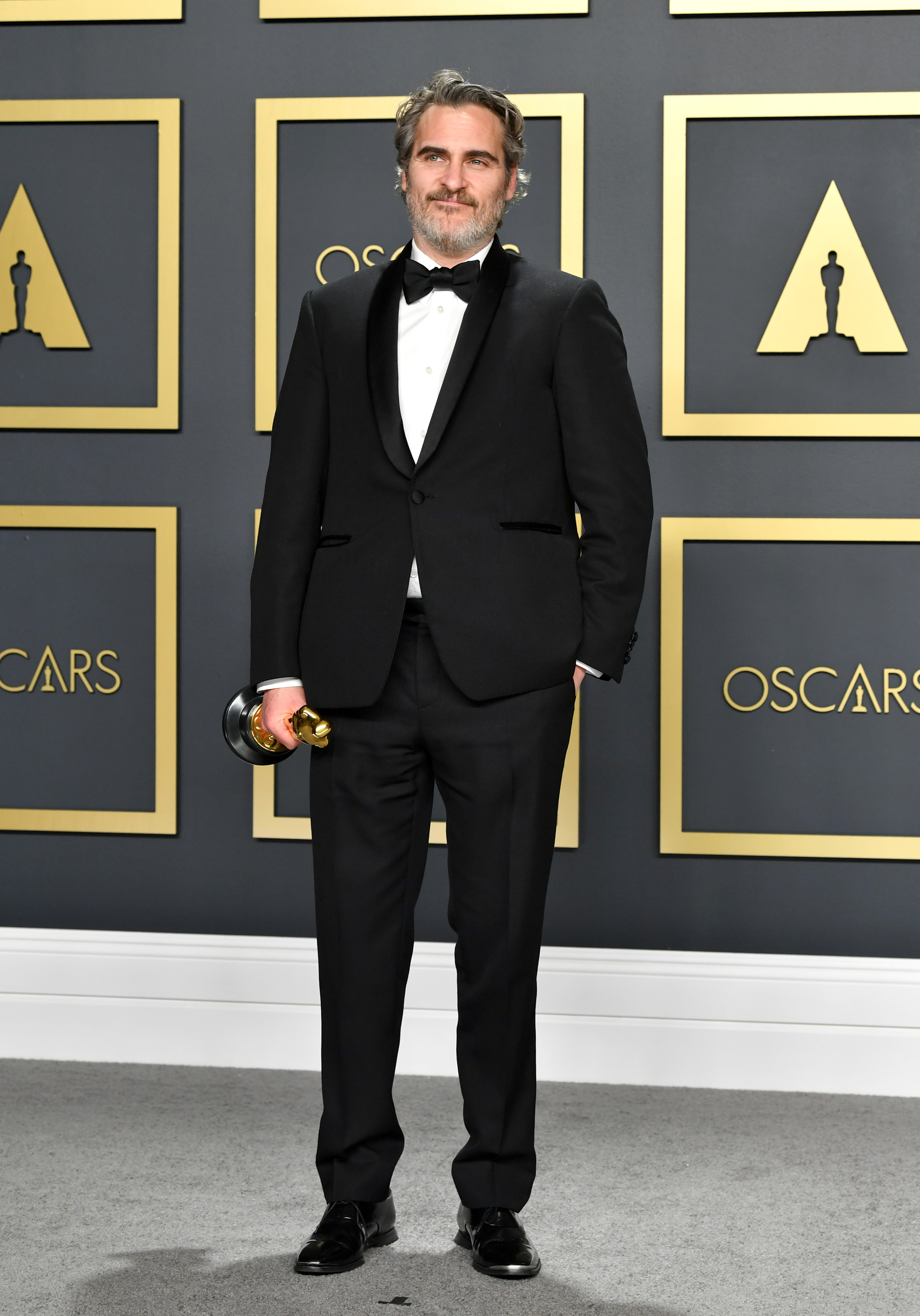 """Joaquin Phoenix, winner of the Actor in a Leading Role award for """"Joker,"""" poses in the press room during the 92nd Annual Academy Awards at Hollywood and Highland on February 09, 2020 in Hollywood, California. (Photo by Amy Sussman/Getty Images)"""