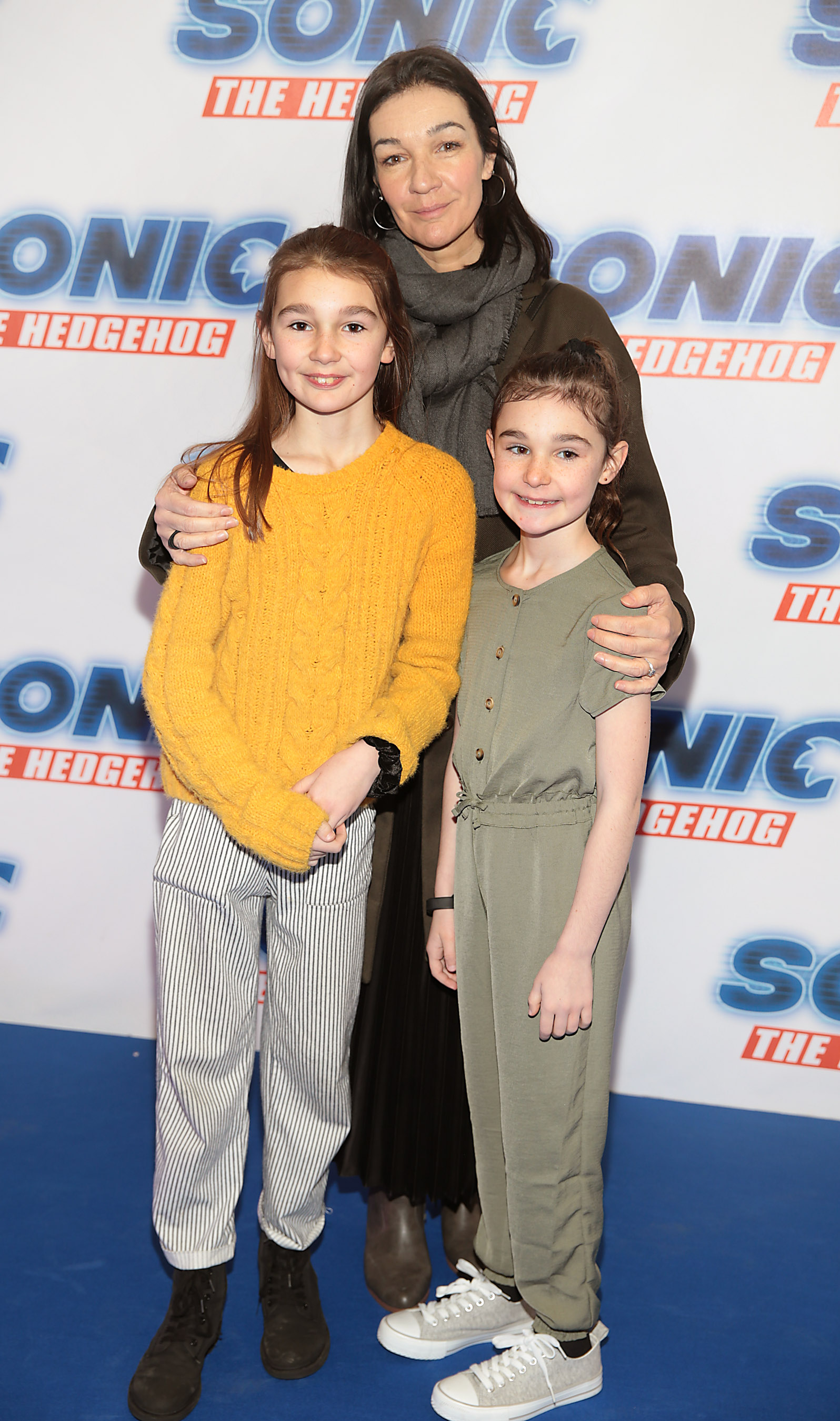 Hilda Fay with children Nancy Vale and Pearl Vale at the special preview screening of Sonic the Hedgehog Movie at the Odeon Cinema in Point Square, Dublin. Pic: Brian McEvoy