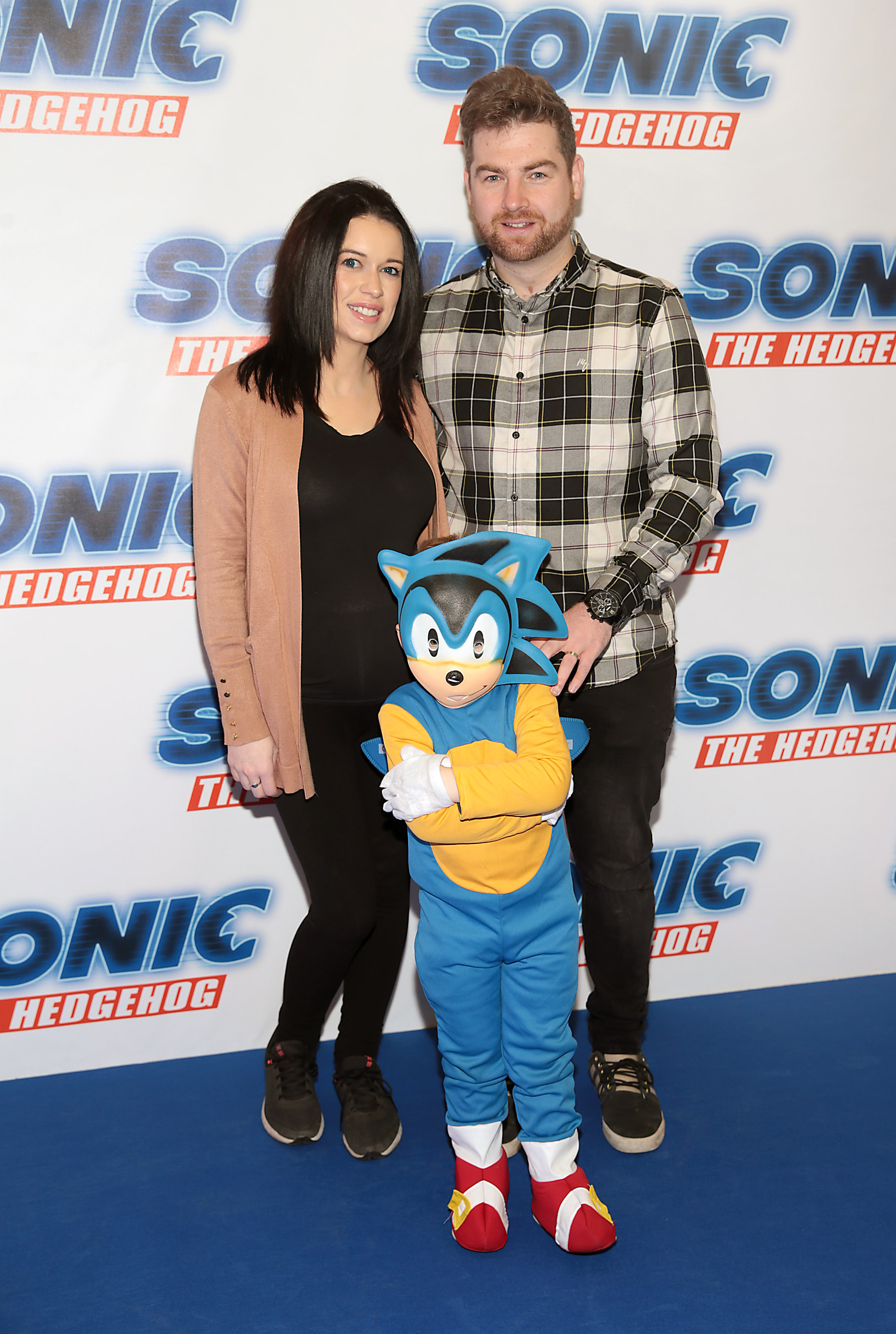 Martin O'Connell, Sarah O'Connell and Cameron O'Connell at the special preview screening of Sonic the Hedgehog Movie at the Odeon Cinema in Point Square, Dublin. Pic: Brian McEvoy