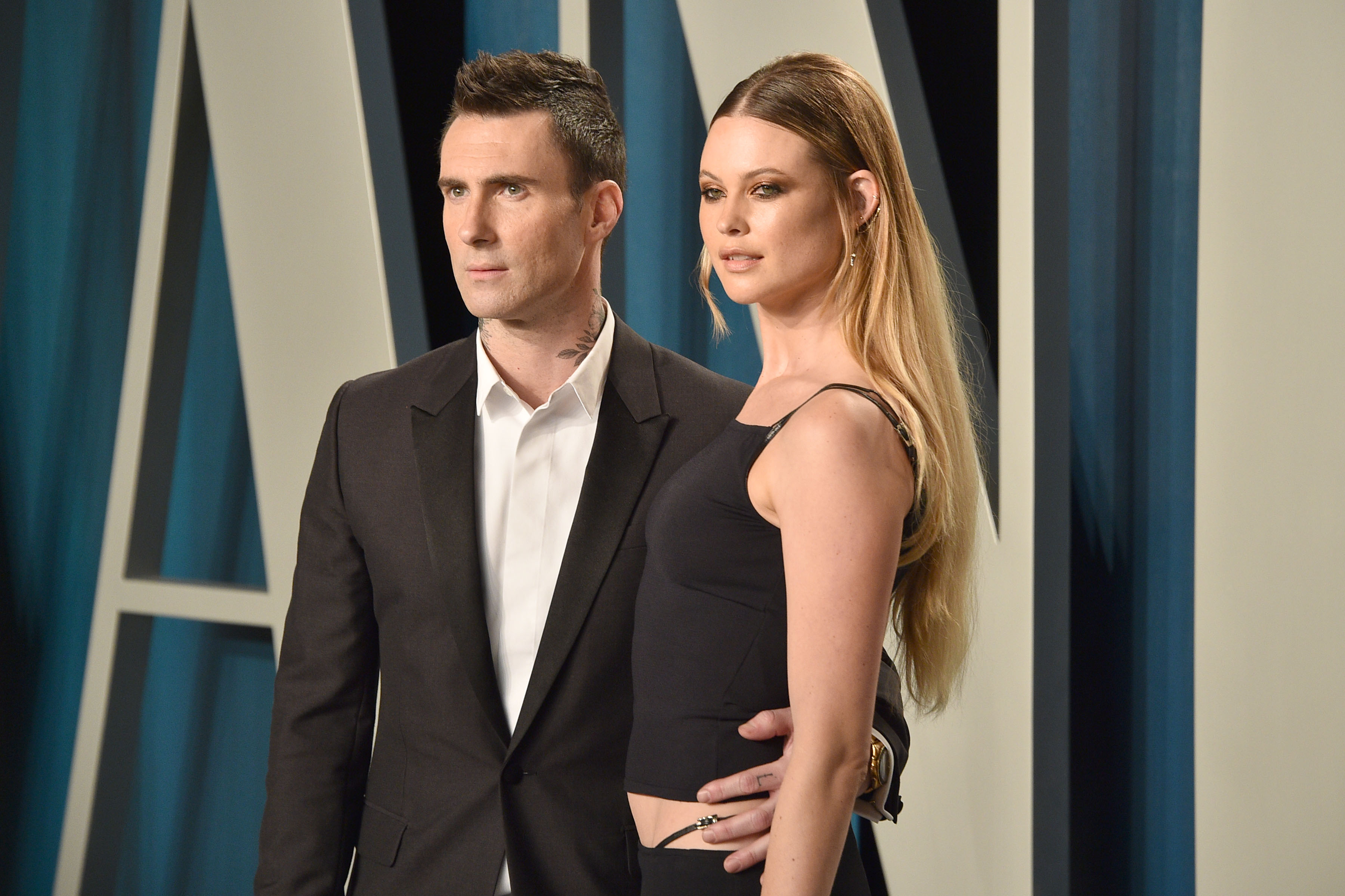Adam Levine and Behati Prinsloo attend the 2020 Vanity Fair Oscar Party at Wallis Annenberg Center for the Performing Arts on February 09, 2020 in Beverly Hills, California. (Photo by David Crotty/Patrick McMullan via Getty Images)
