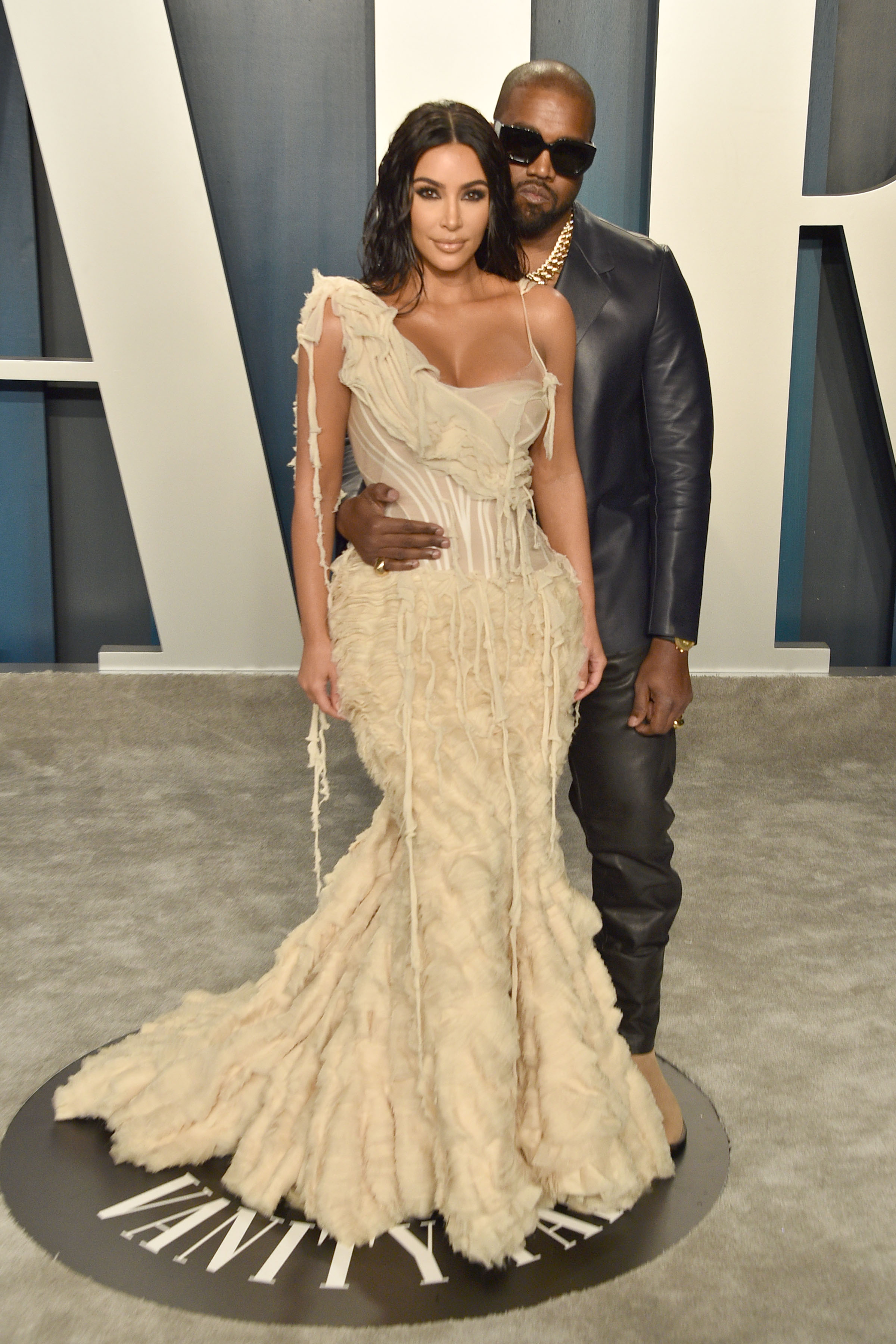 Kim Kardashian and Kanye West attend the 2020 Vanity Fair Oscar Party at Wallis Annenberg Center for the Performing Arts on February 09, 2020 in Beverly Hills, California. (Photo by David Crotty/Patrick McMullan via Getty Images)