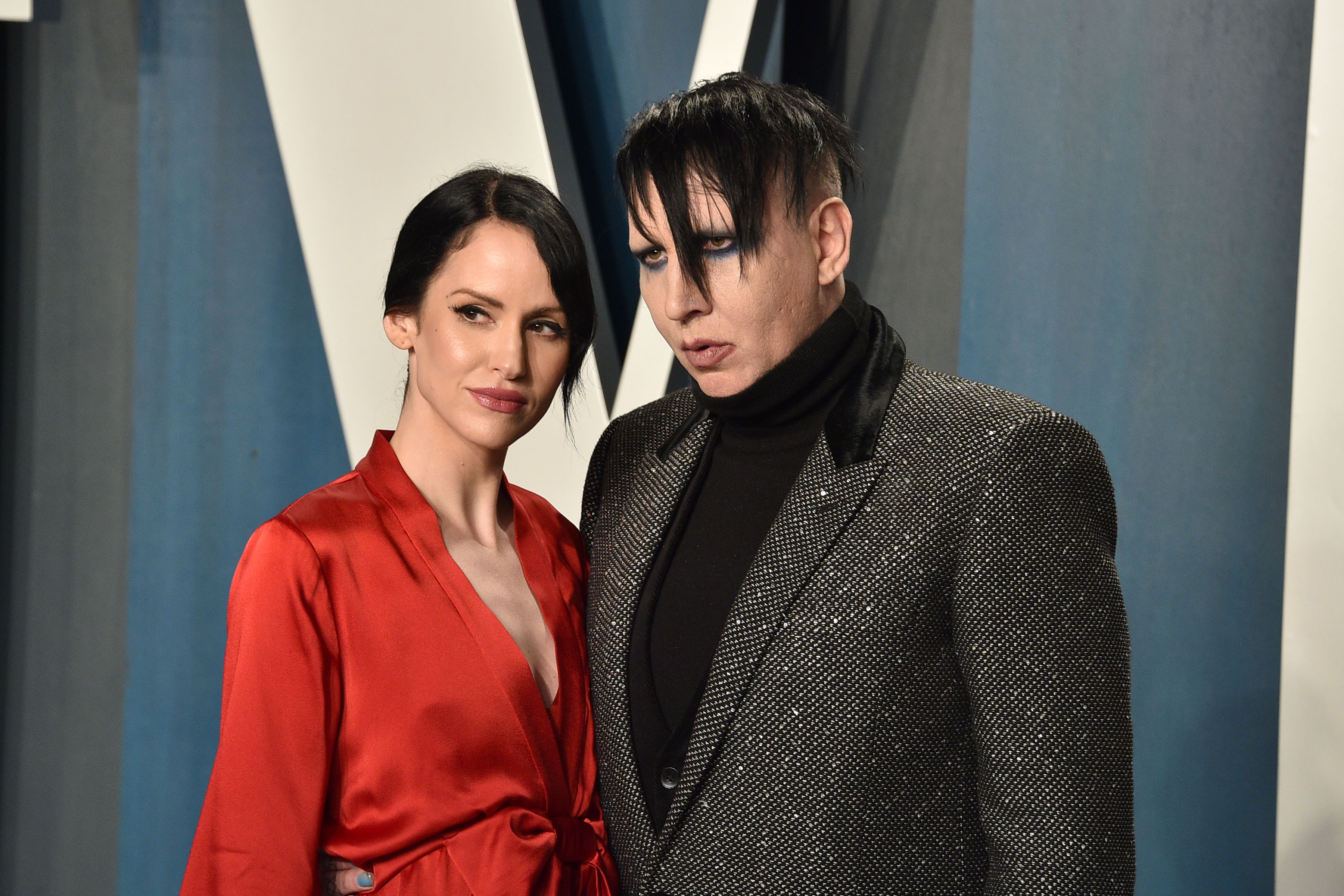 Lindsay Usich and Marilyn Manson attend the 2020 Vanity Fair Oscar Party at Wallis Annenberg Center for the Performing Arts on February 09, 2020 in Beverly Hills, California. (Photo by David Crotty/Patrick McMullan via Getty Images)
