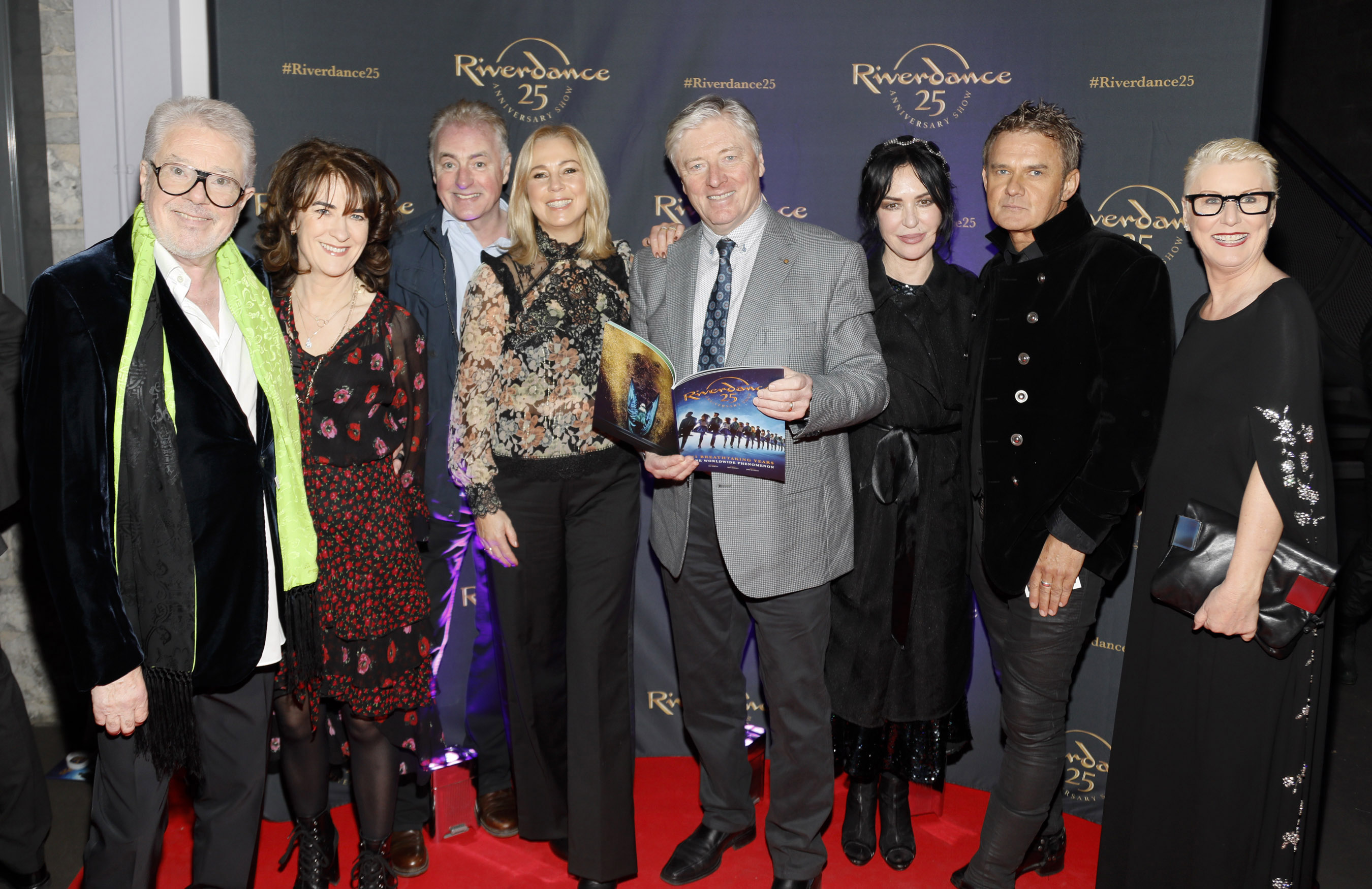 John McColgan, Ursula and Dave Fanning, Kathy and Pat Kenny, Morah Ryan, Don Mescall and Moya Doherty at the historic gala performance of Riverdance 25th Anniversary show at 3Arena Dublin exactly 25 years to the day that Riverdance was first performed at the Point Depot.  Photo: Kieran Harnett