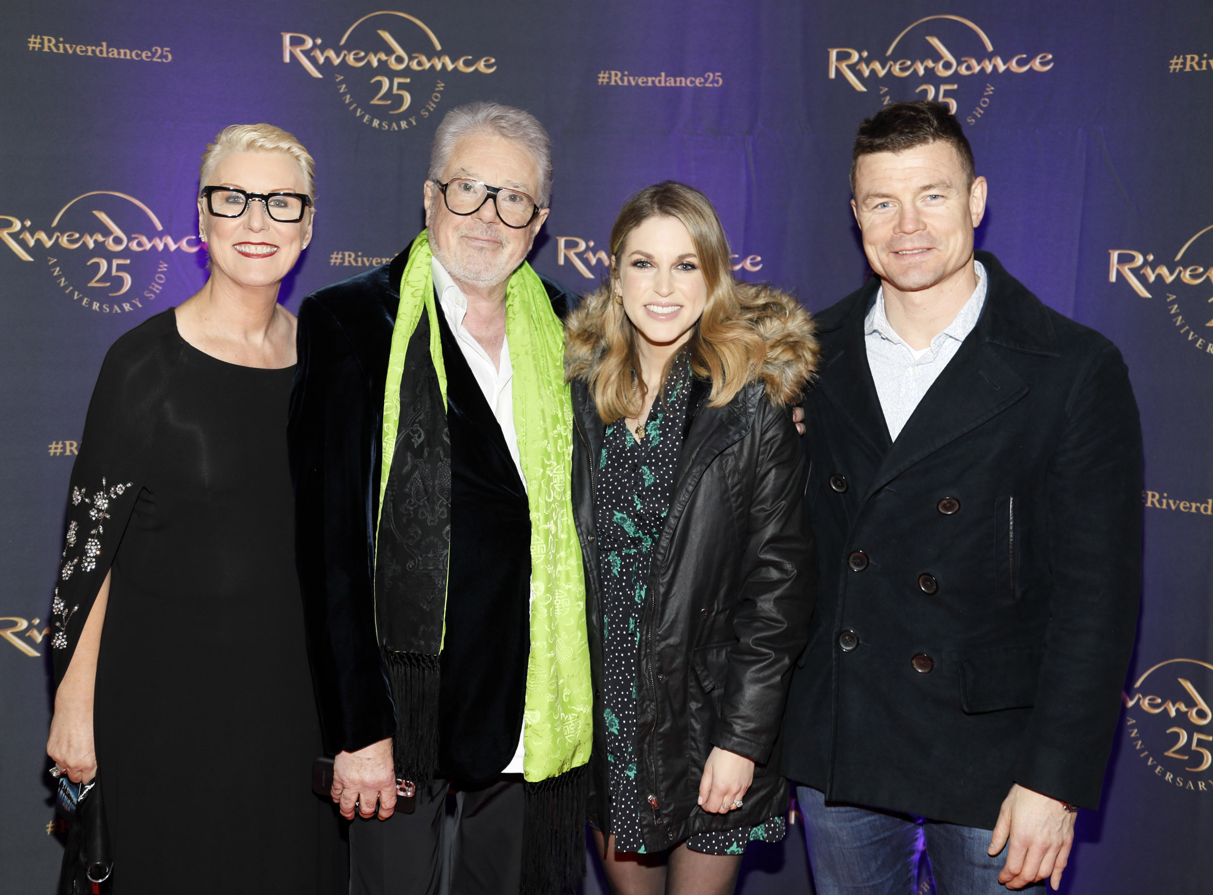 Moya Doherty, John McColgan, Amy Huberman and Brian O'Driscoll at the historic gala performance of Riverdance 25th Anniversary show at 3Arena Dublin exactly 25 years to the day that Riverdance was first performed at the Point Depot.  Photo: Kieran Harnett