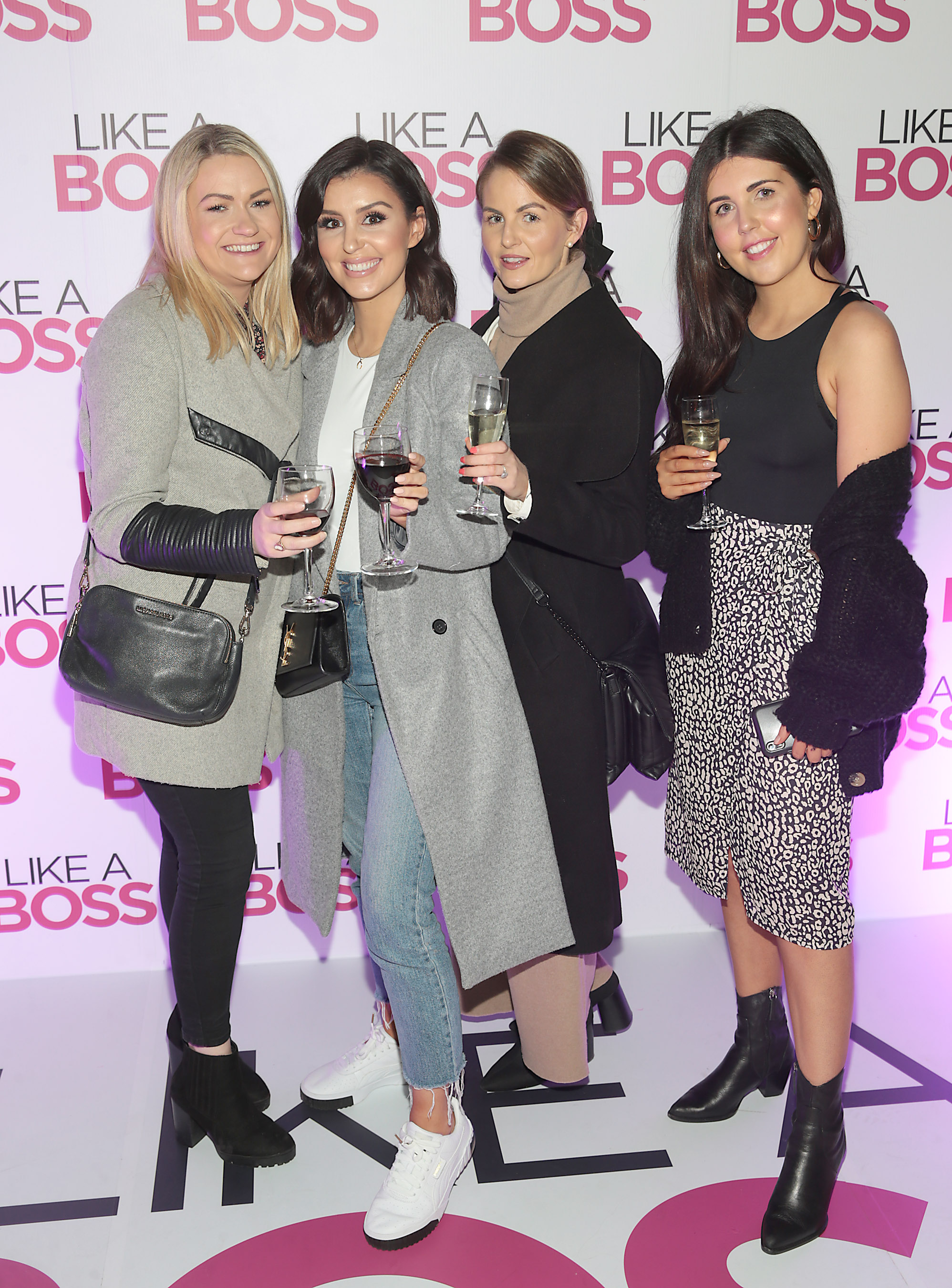 Alison Reynolds, Terrie McEvoy, Elaine McConnell and Alison McSweeney at the special preview screening of Like A Boss at the Lighthouse Cinema, Dublin. Pic: Brian McEvoy