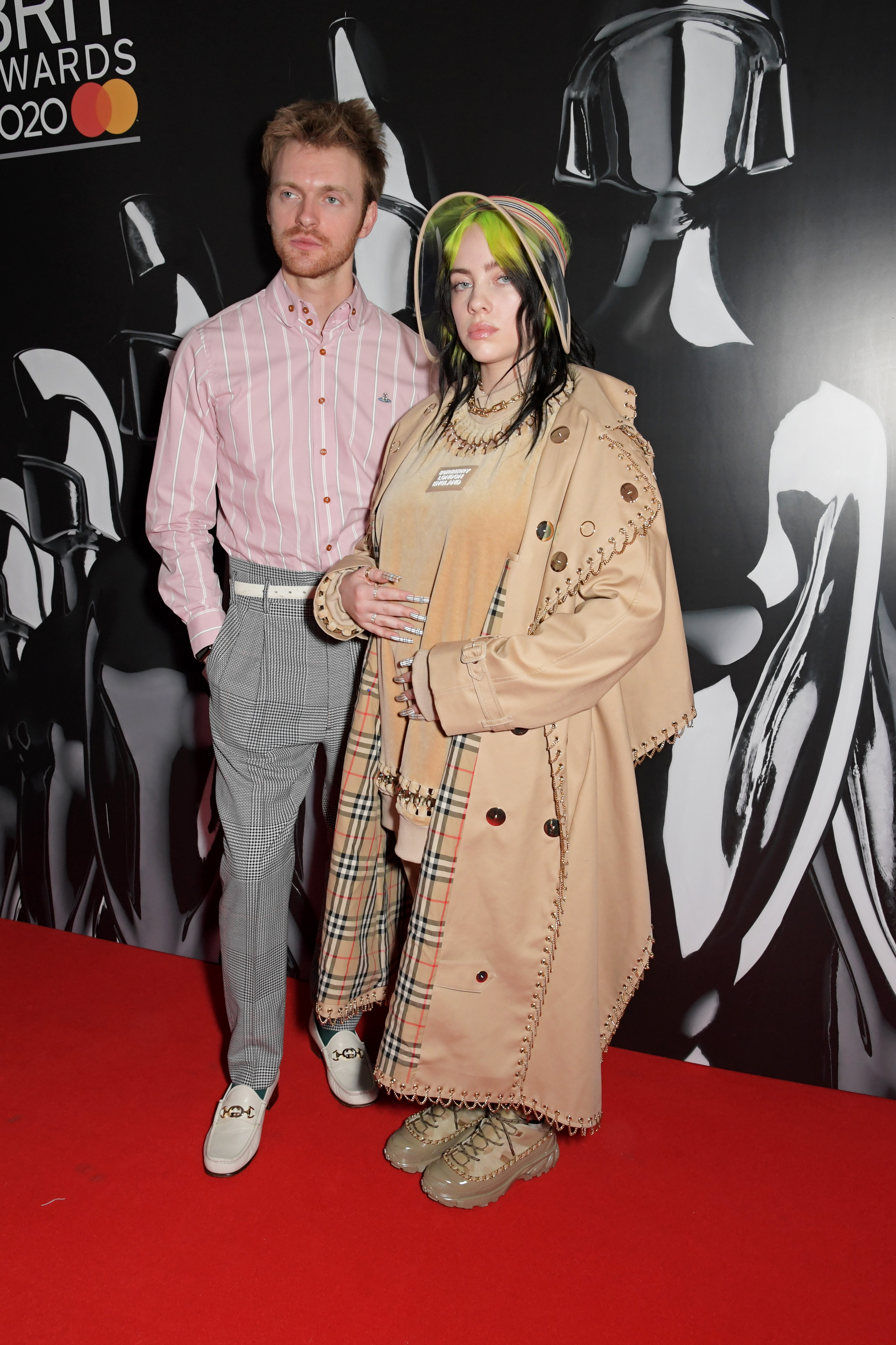 Finneas O'Connell and Billie Eilish attend The BRIT Awards 2020 at The O2 Arena on February 18, 2020 in London, England.  (Photo by David M. Benett/Dave Benett/Getty Images)