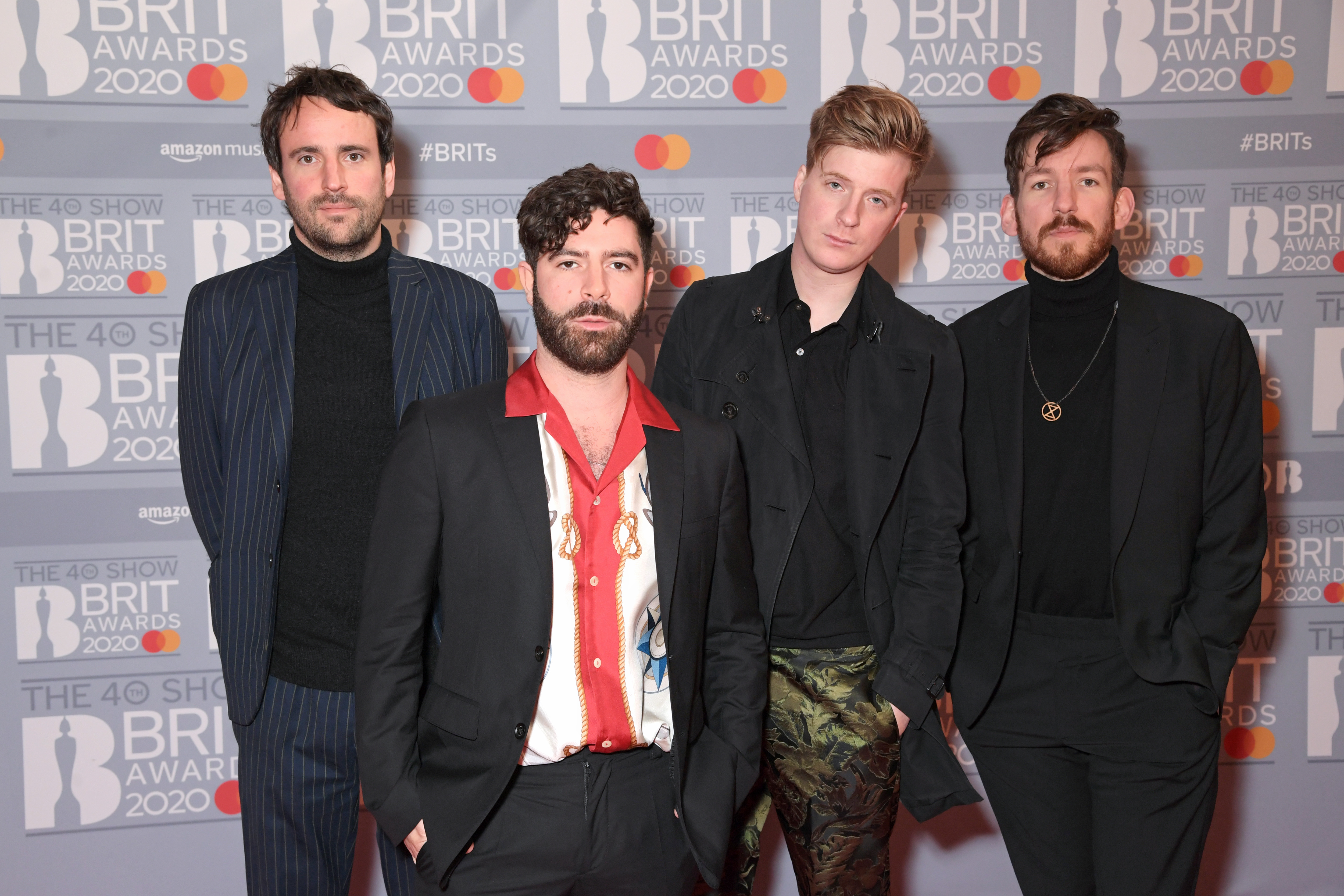 (L to R) Jimmy Smith, Yannis Philippakis, Jack Bevan and Edwin Congreave of Foals attend The BRIT Awards 2020 at The O2 Arena on February 18, 2020 in London, England.  (Photo by David M. Benett/Dave Benett/Getty Images)