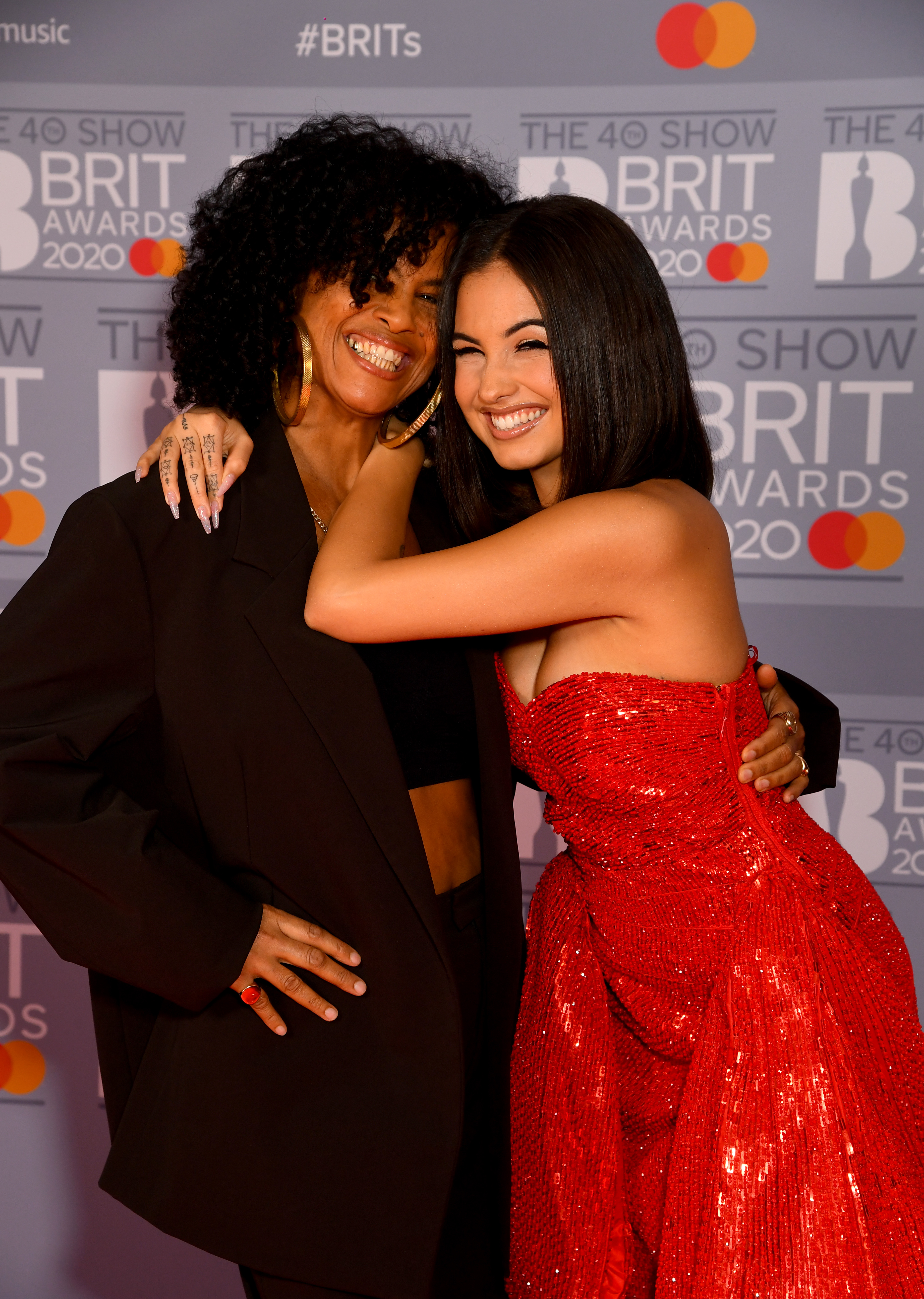 Neneh Cherry and Mabel attend The BRIT Awards 2020 at The O2 Arena on February 18, 2020 in London, England. (Photo by Dave J Hogan/Getty Images)