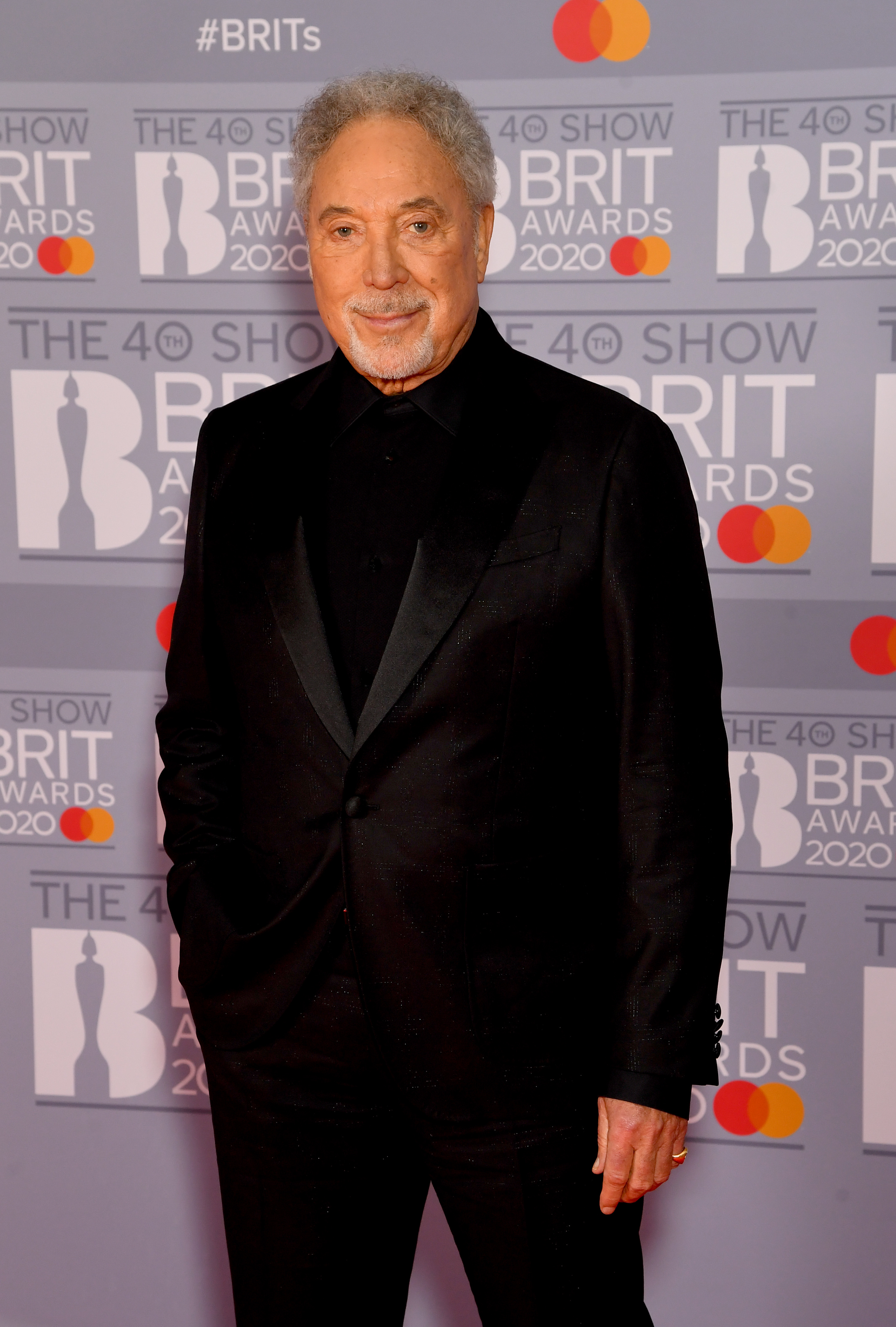 Sir Tom Jones attends The BRIT Awards 2020 at The O2 Arena on February 18, 2020 in London, England. (Photo by Dave J Hogan/Getty Images)