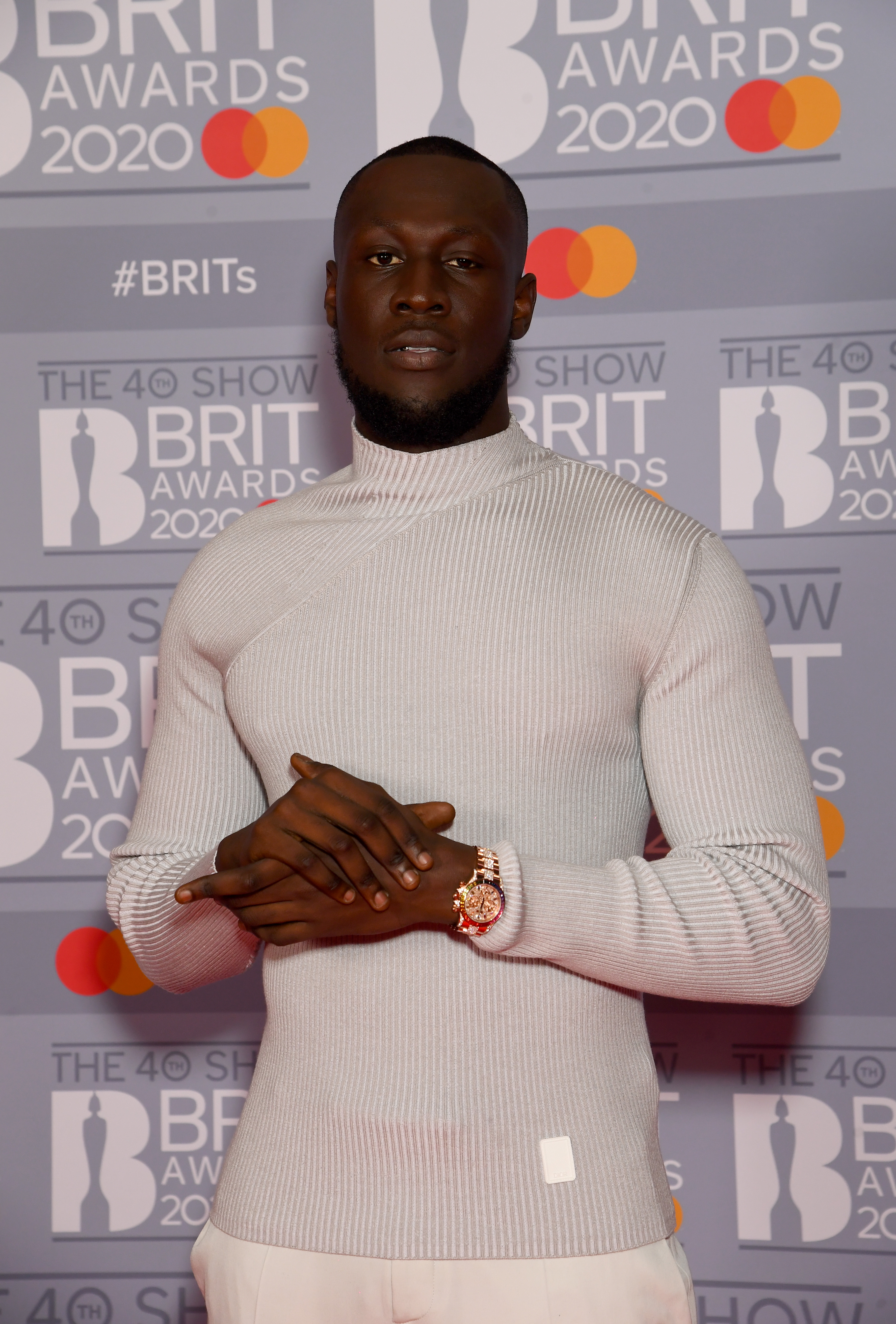 Stormzy attends The BRIT Awards 2020 at The O2 Arena on February 18, 2020 in London, England. (Photo by Dave J Hogan/Getty Images)