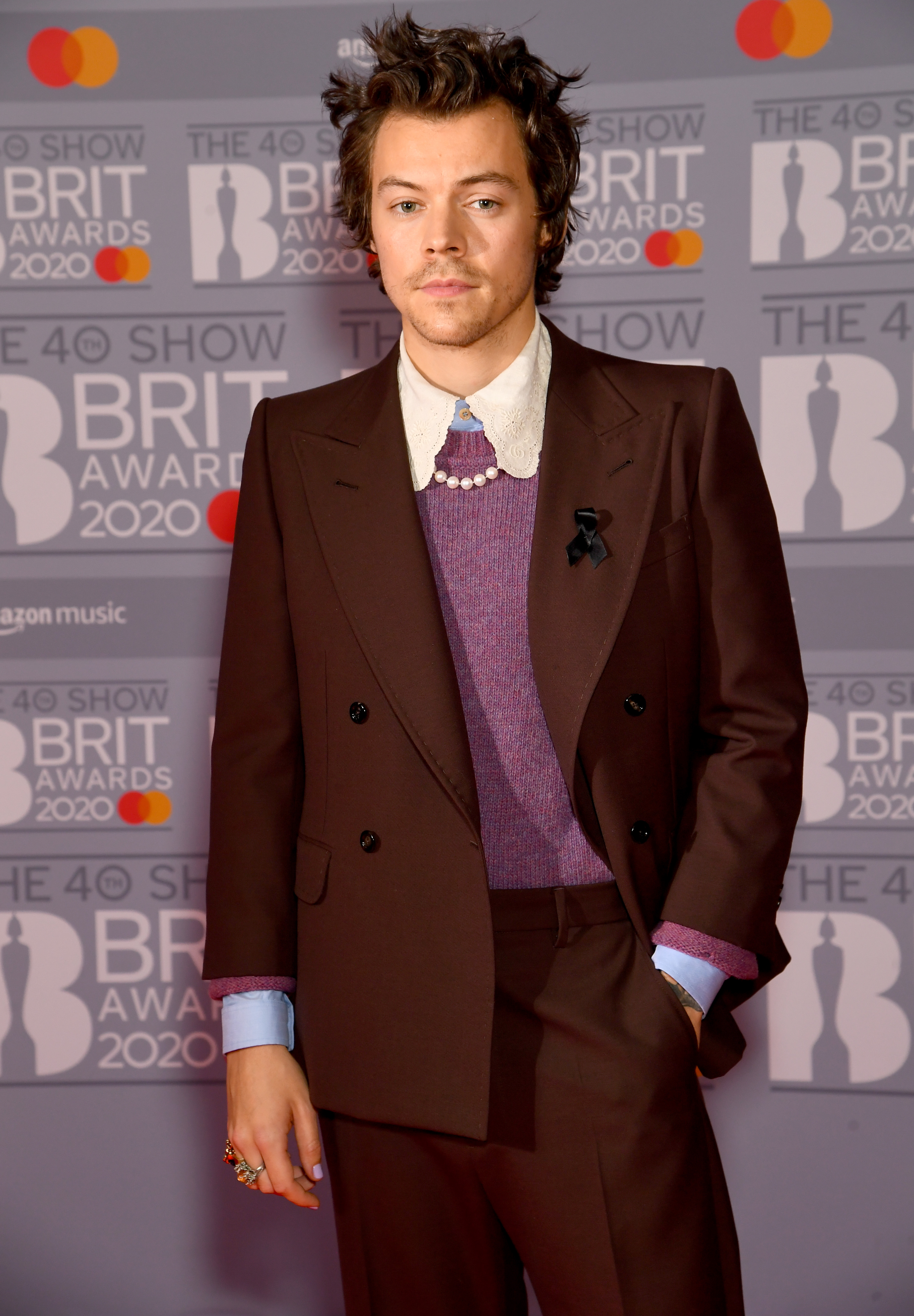 Harry Styles attends The BRIT Awards 2020 at The O2 Arena on February 18, 2020 in London, England. (Photo by Dave J Hogan/Getty Images)