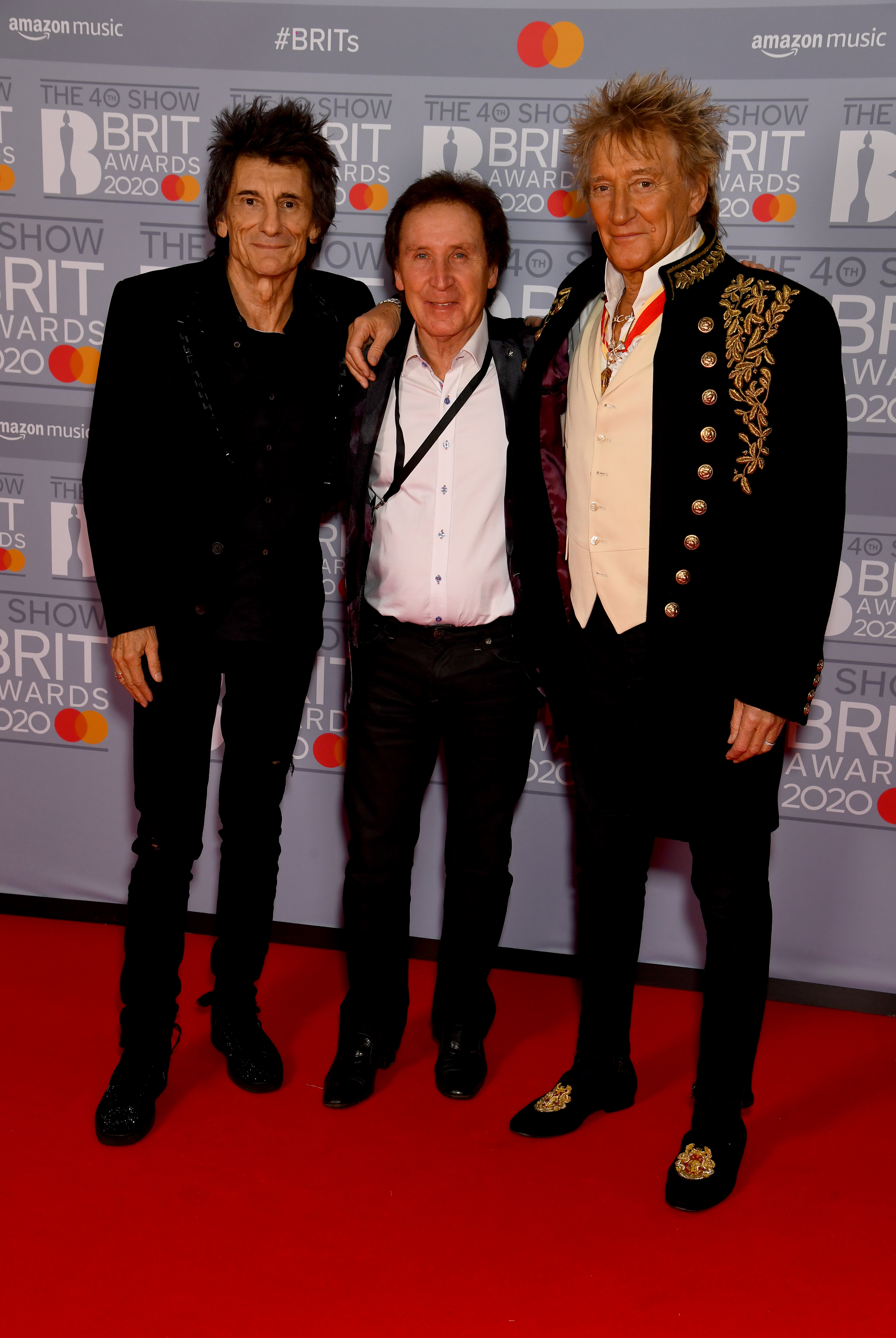 Ronnie Wood, Kenny Jones and Rod Stewart attend The BRIT Awards 2020 at The O2 Arena on February 18, 2020 in London, England. (Photo by Dave J Hogan/Getty Images)