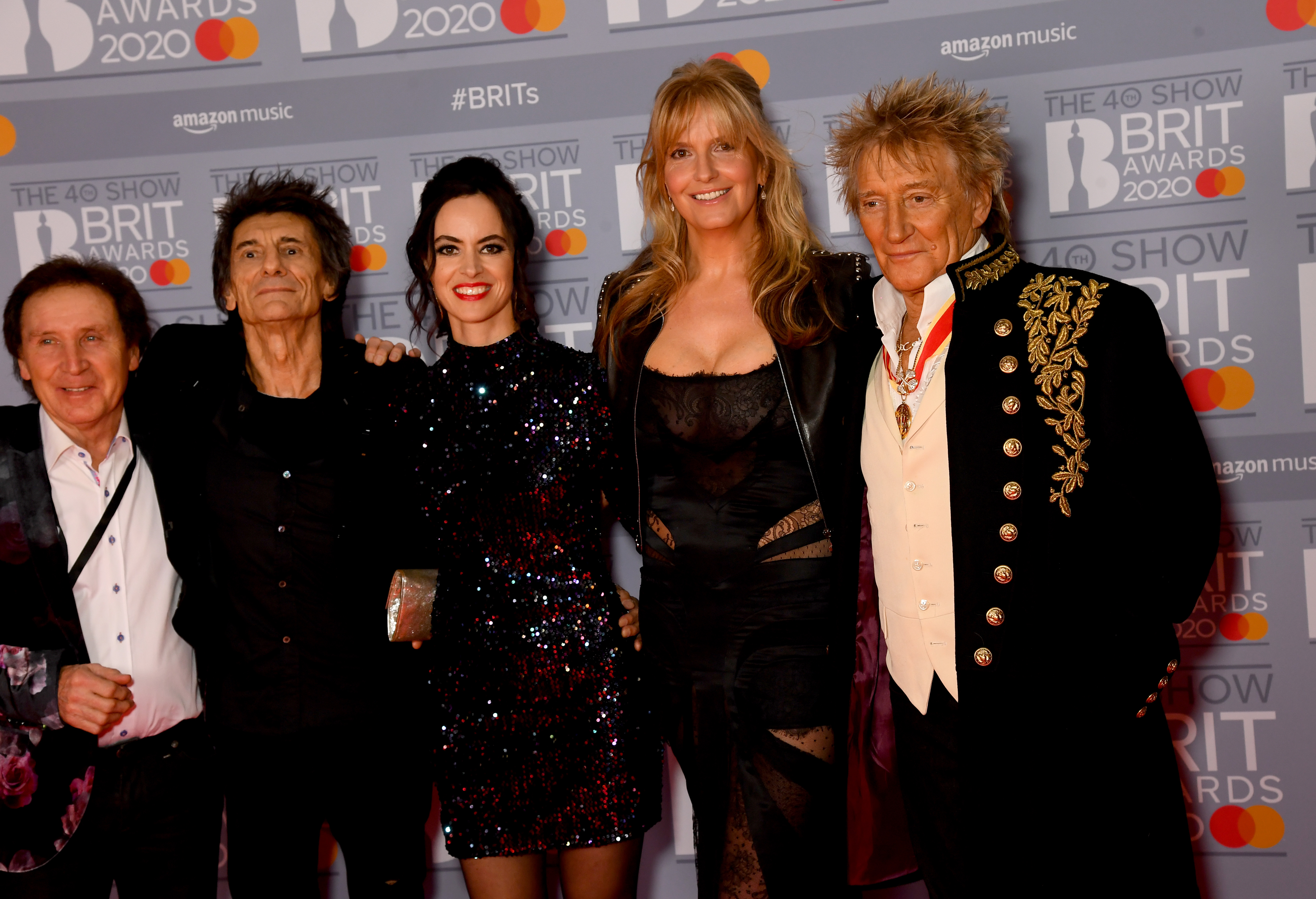 Kenny Jones, Ronnie Wood, Sally Wood, Penny Lancaster and Rod Stewart attend The BRIT Awards 2020 at The O2 Arena on February 18, 2020 in London, England. (Photo by Dave J Hogan/Getty Images)
