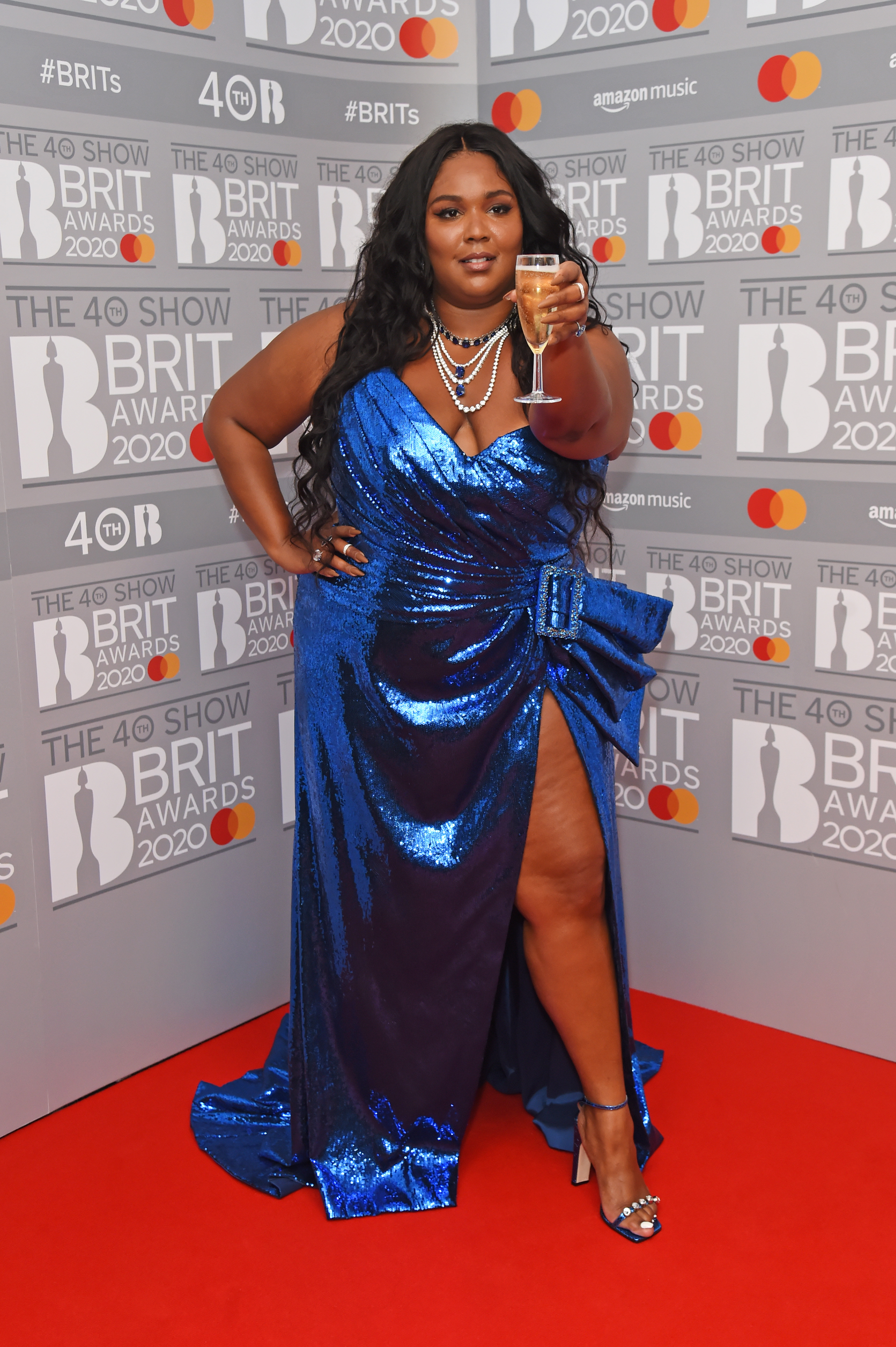 Lizzo poses in the winners room at The BRIT Awards 2020 at The O2 Arena on February 18, 2020 in London, England.  (Photo by David M. Benett/Dave Benett/Getty Images)