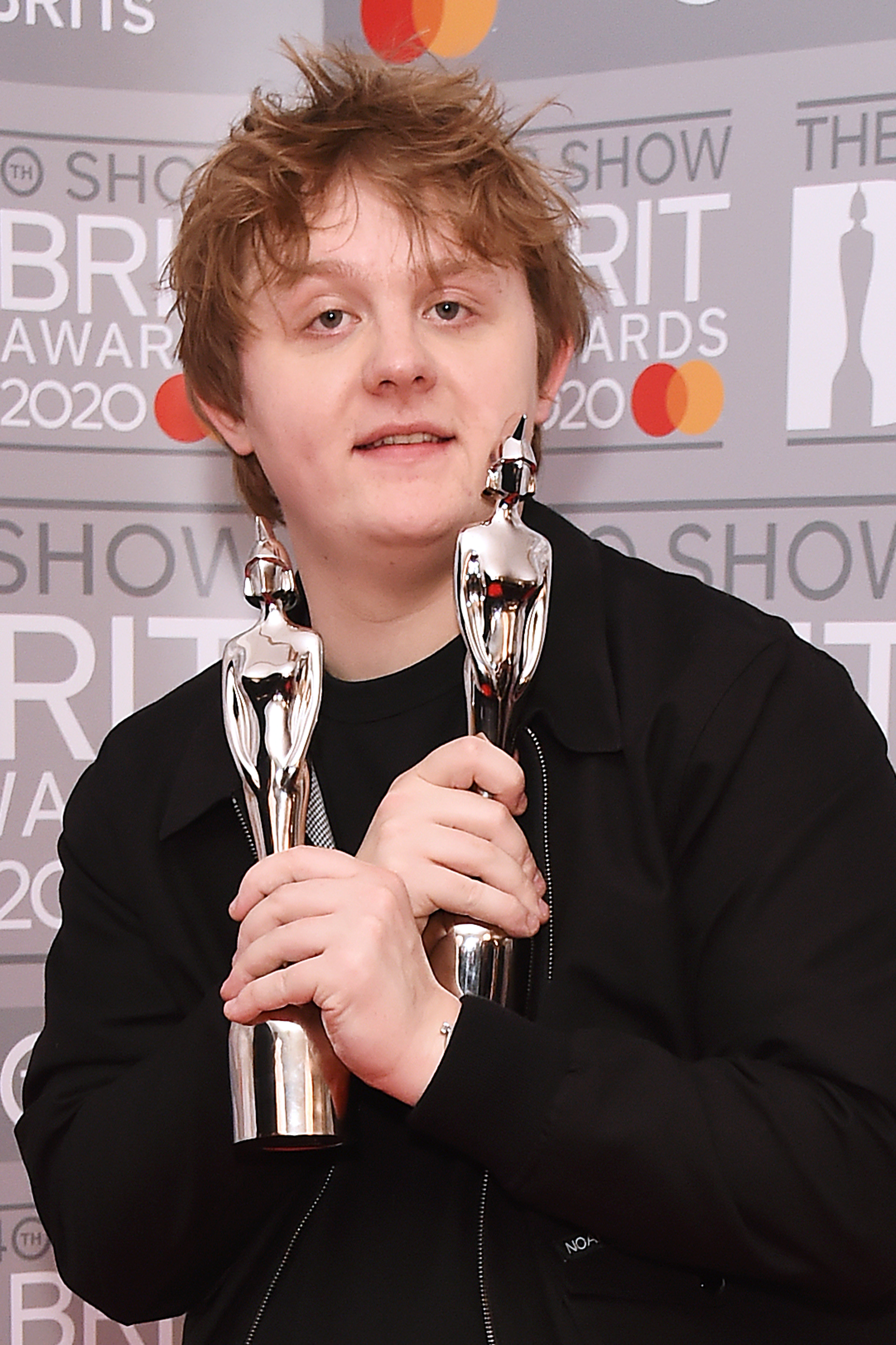 Lewis Capaldi, winner of the Best New Artist and Song Of The Year awards, poses in the winners room at The BRIT Awards 2020 at The O2 Arena on February 18, 2020 in London, England.  (Photo by David M. Benett/Dave Benett/Getty Images)