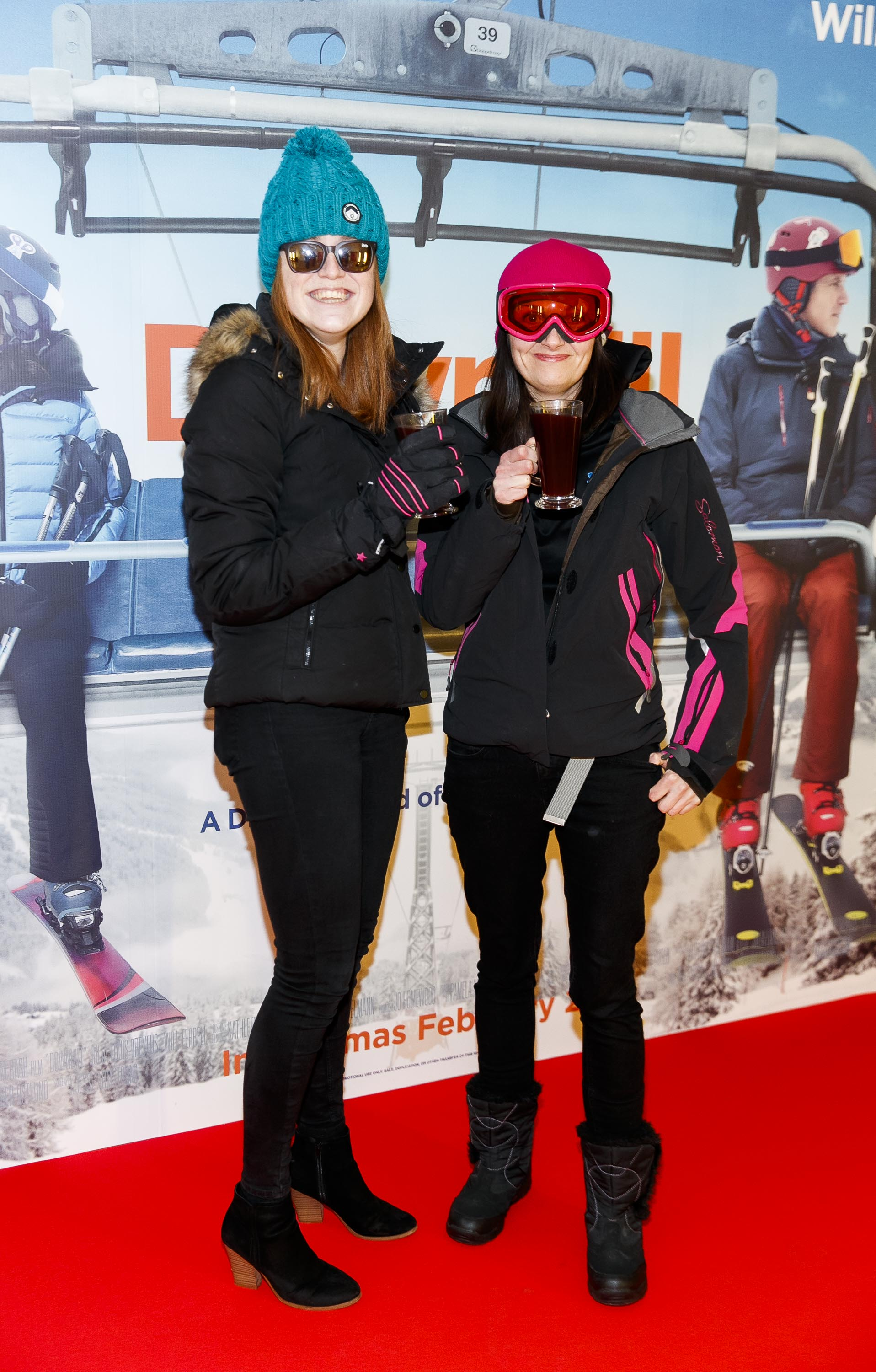 Dressed for the Après ski, Bláithaín Willis and Colette Daly pictured at a special preview screening of Downhill at the Light House Cinema, Dublin. Picture: Andres Poveda.