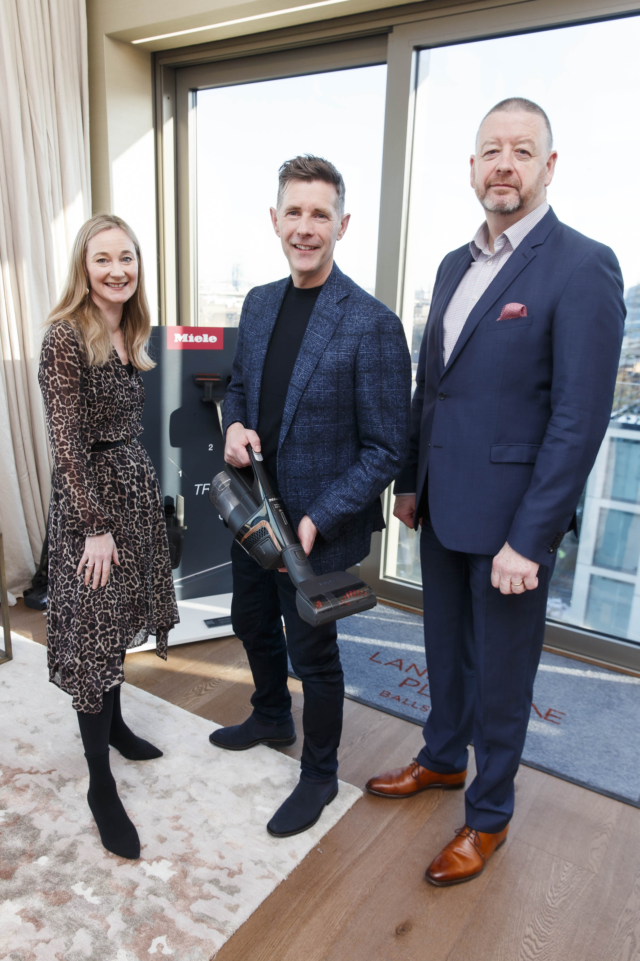 Ciara Elliott, Dermot, Bannon and Miele managing director, Pat McGrath pictured at the launch of Miele Triflex. The world's leading manufacturer of cylinder vacuum cleaners, Miele, unveiled its first ever cordless handstick model at the stunning Landsdowne Place penthouse. Guests experienced the ultimate cordless vacuum cleaner, which is available in all major retailers from €499. Picture Andres Poveda