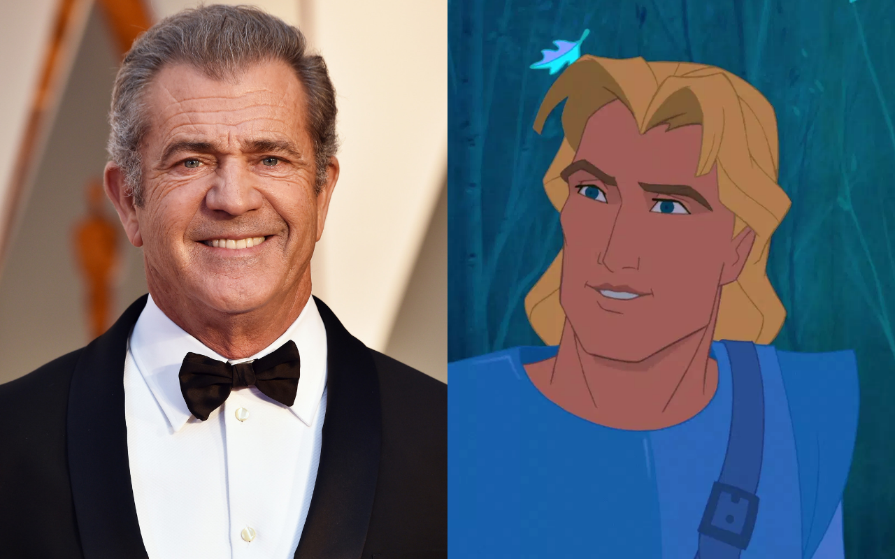 Mel Gibson voiced the character of John Smith in Pocahontas (1995). Photo by Frazer Harrison via Getty Images/@1995 Disney All Rights Reserved.