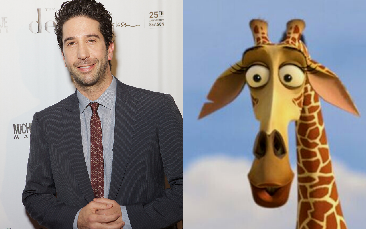 David Schwimmer gave his voice to Melman the giraffe in Madagascar (2005). Photo by Jeff Schear via Getty IMages/@2005 Disney All RIghts Reserved.