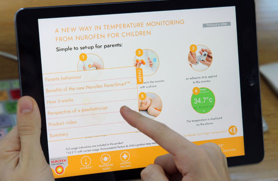 A detail aid that gives parents the ability to understand how to use Nurofen's new device.