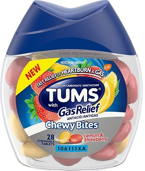 TUMS GAS RELIEF ANTACID CHEWY BITES X28