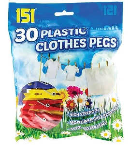 151 Plastic Clothes Pegs x30
